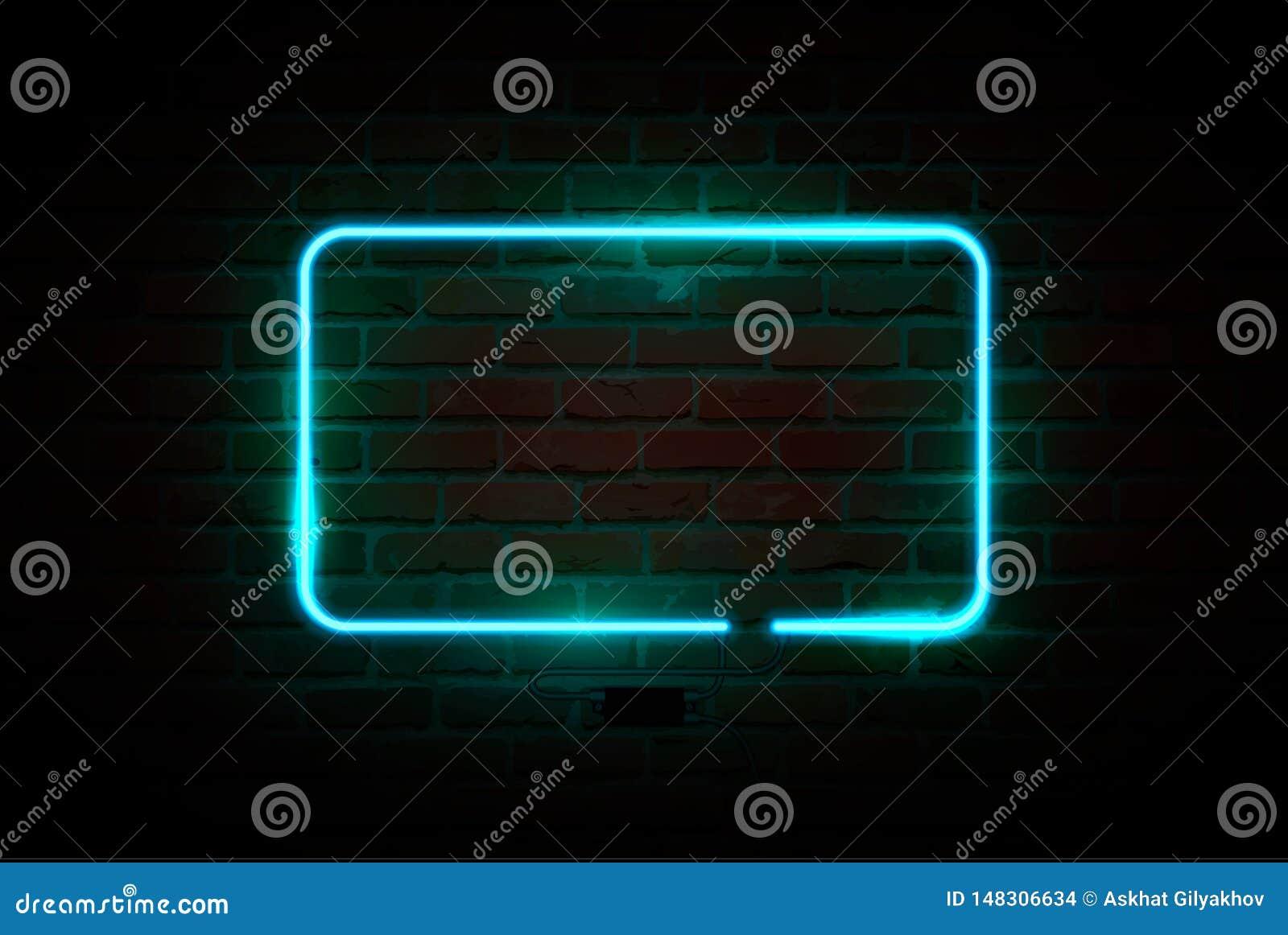 Sinal de néon, quadro indicador brilhante, bandeira de incandescência Ilustra??o do vetor