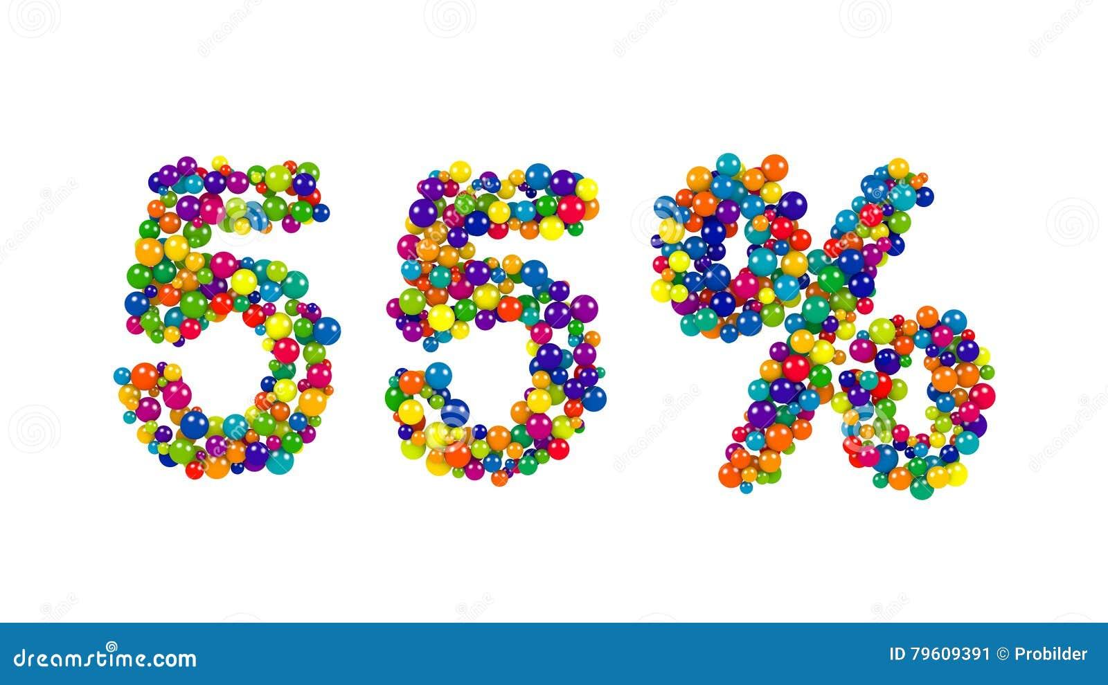 Sinal de 55 por cento formado de esferas vibrantes