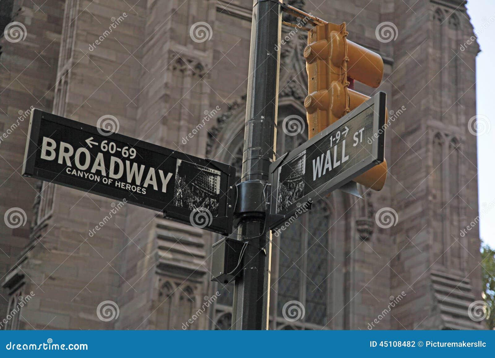 Sinal de rua de Broadway e de Wall Street NYC