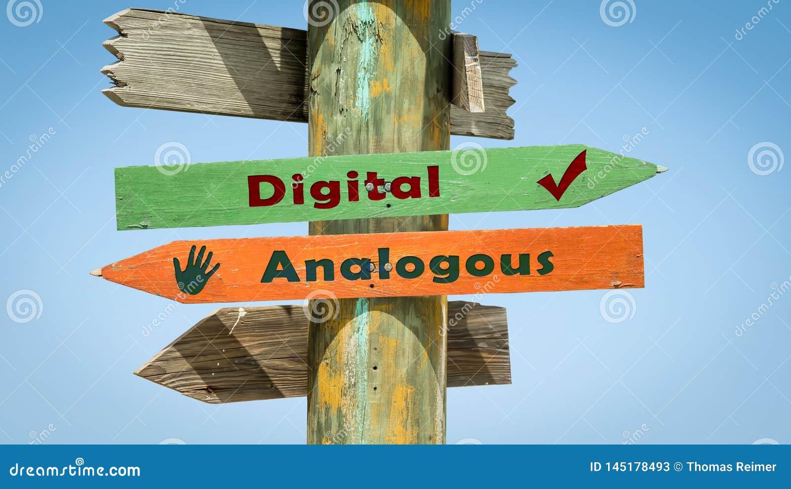 Sinal de rua Digital contra análogo