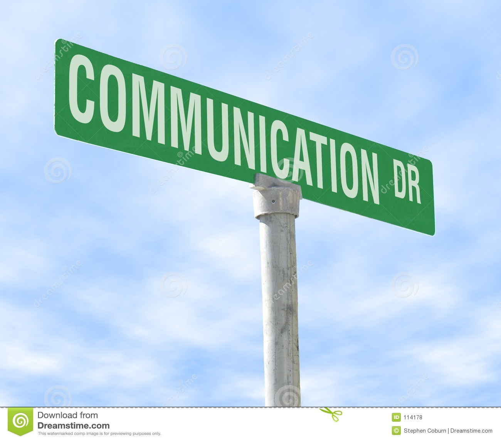 Sinal de rua temático de uma comunicação
