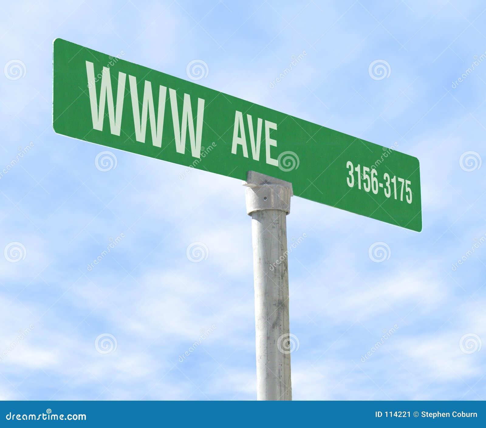 Sinal de rua temático do Internet