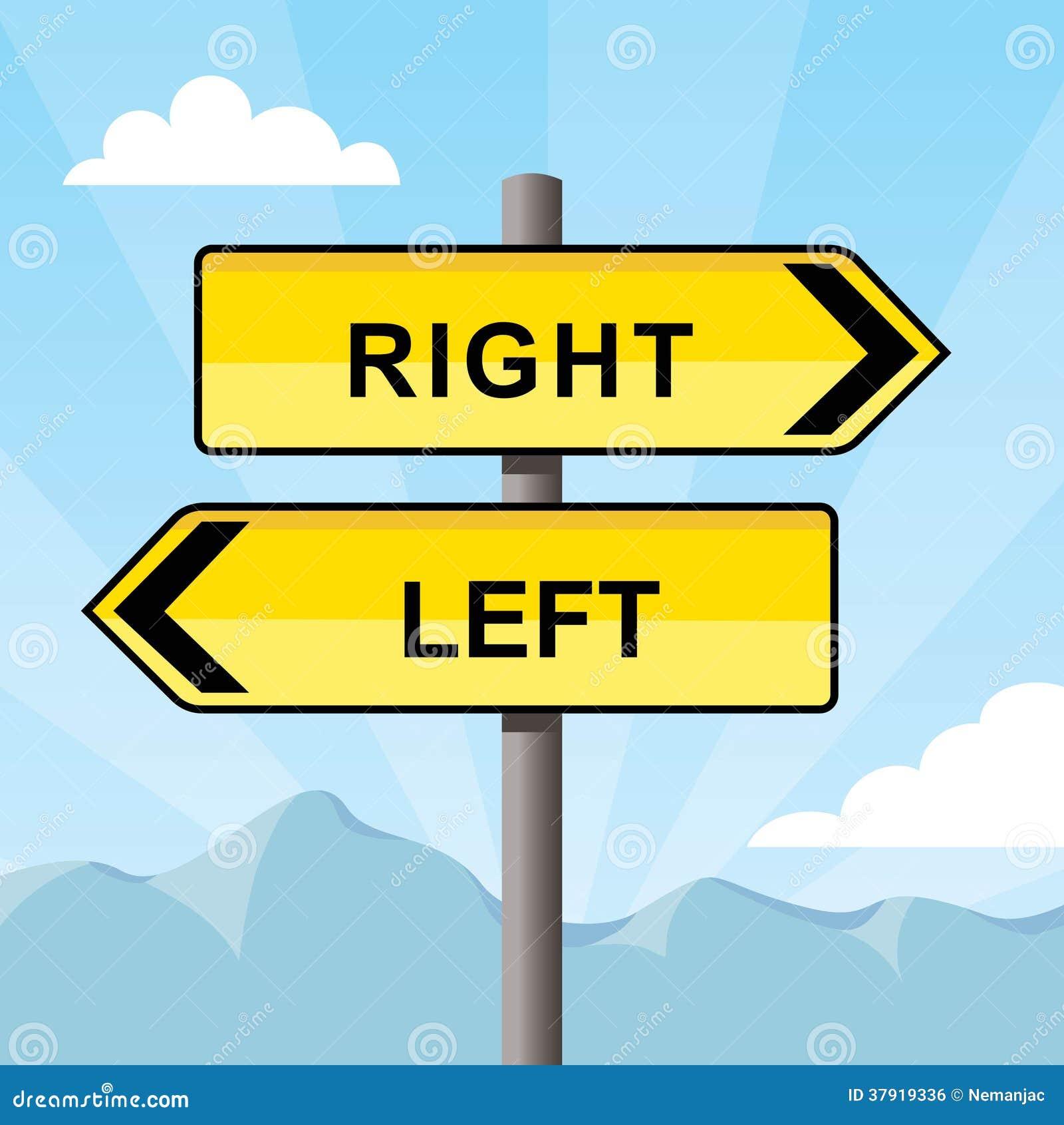 Sinal de sentido amarelo que aponta oposto aos sentidos, palavras certo e à esquerda