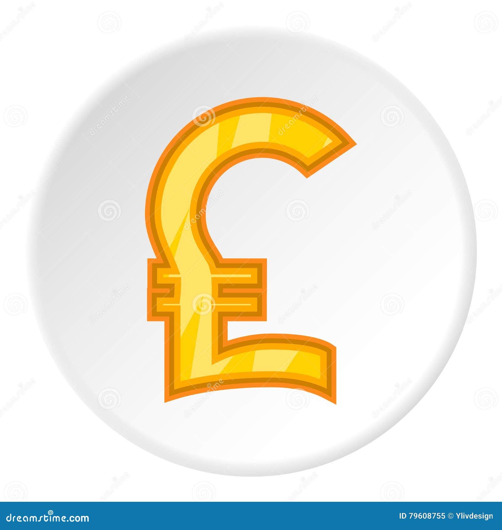 Sinal do ícone de libra esterlina do dinheiro, estilo dos desenhos animados