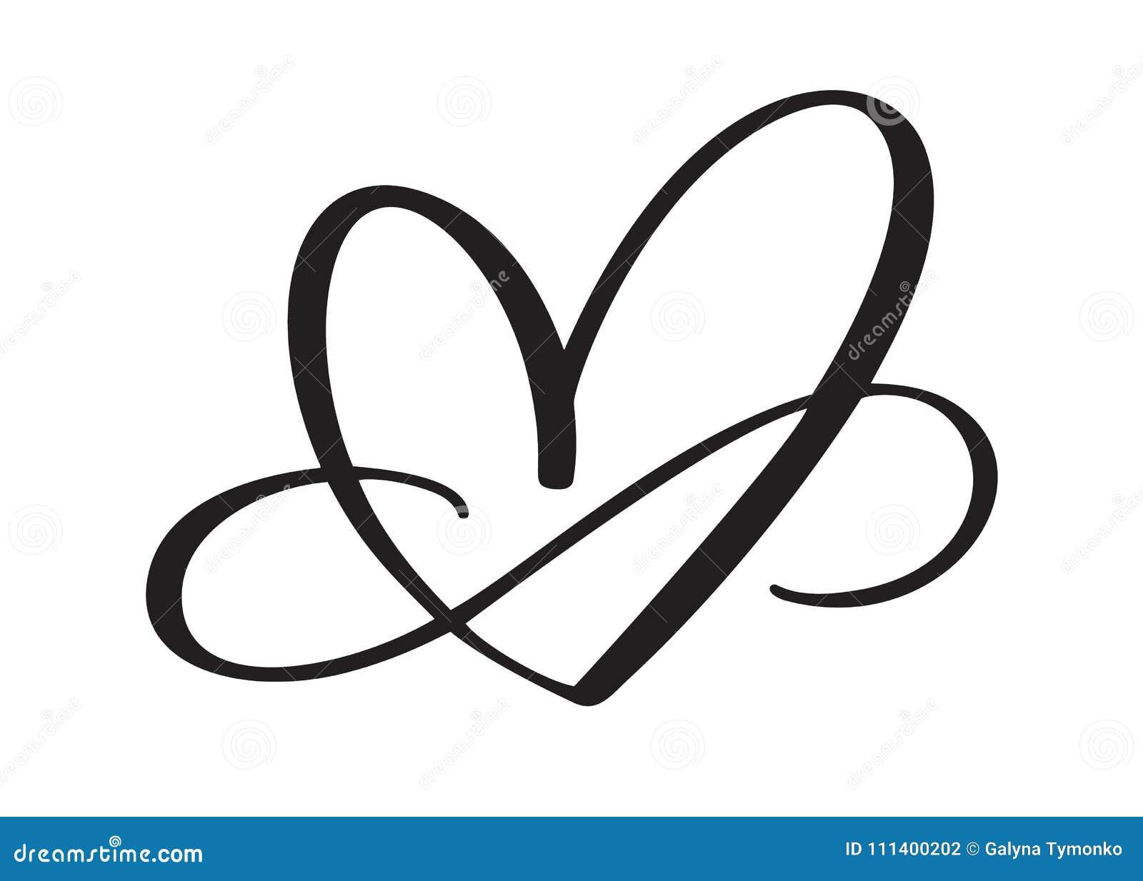 Sinal do amor do coração para sempre O símbolo romântico da infinidade ligado, junta-se, paixão e casamento Molde para a camisa d