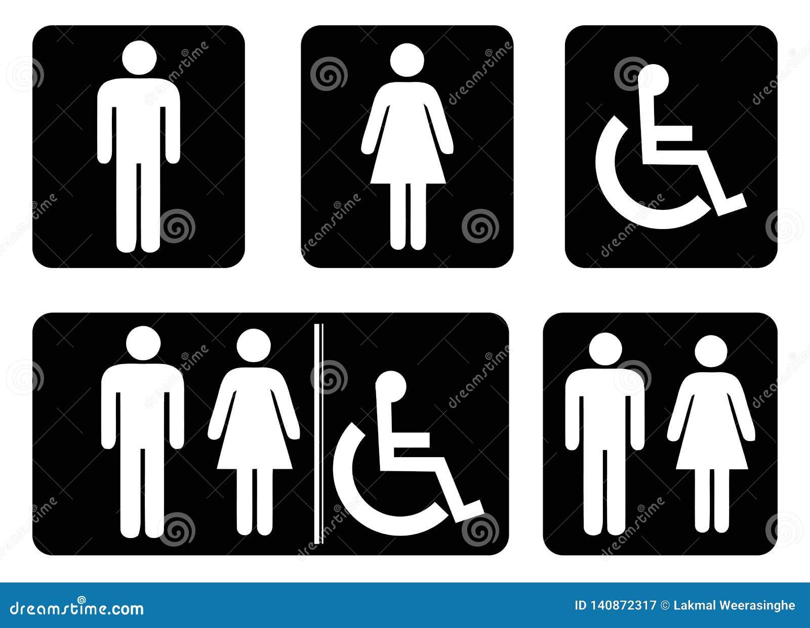 Sinal do banheiro - desenho do símbolo do toalete pela ilustração
