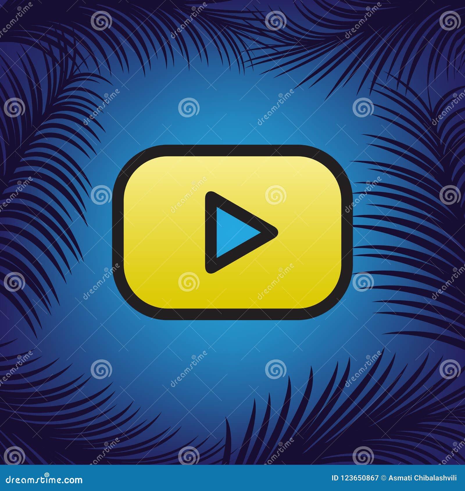 Sinal do botão do jogo Vetor Ícone dourado com contorno preto no azul