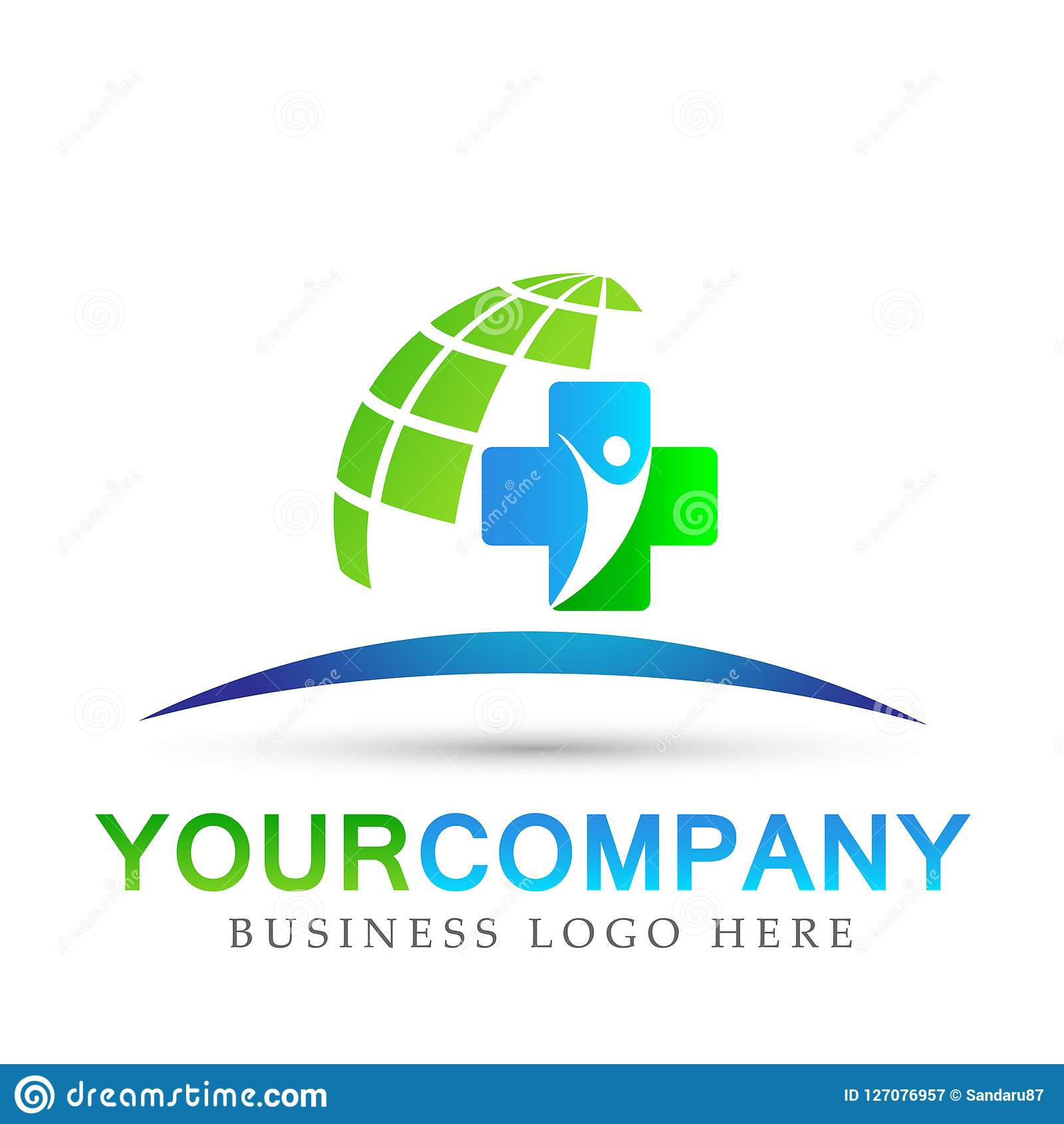 Sinal do elemento do ícone do logotipo do conceito da saúde da família do globo dos cuidados médicos no fundo branco