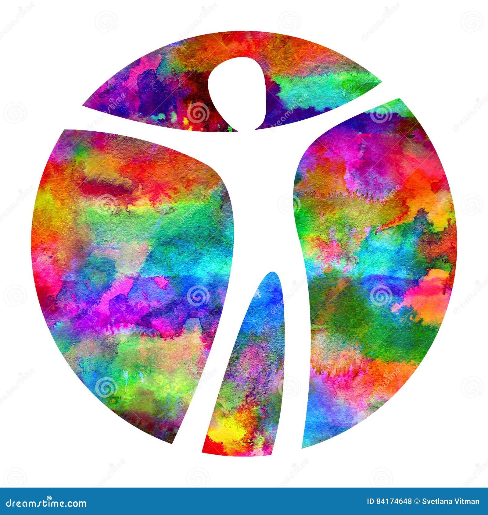 Sinal do homem de Logo Modern da aquarela da psicologia Ser humano em um círculo Estilo creativo Ícone dentro Conceito de projeto