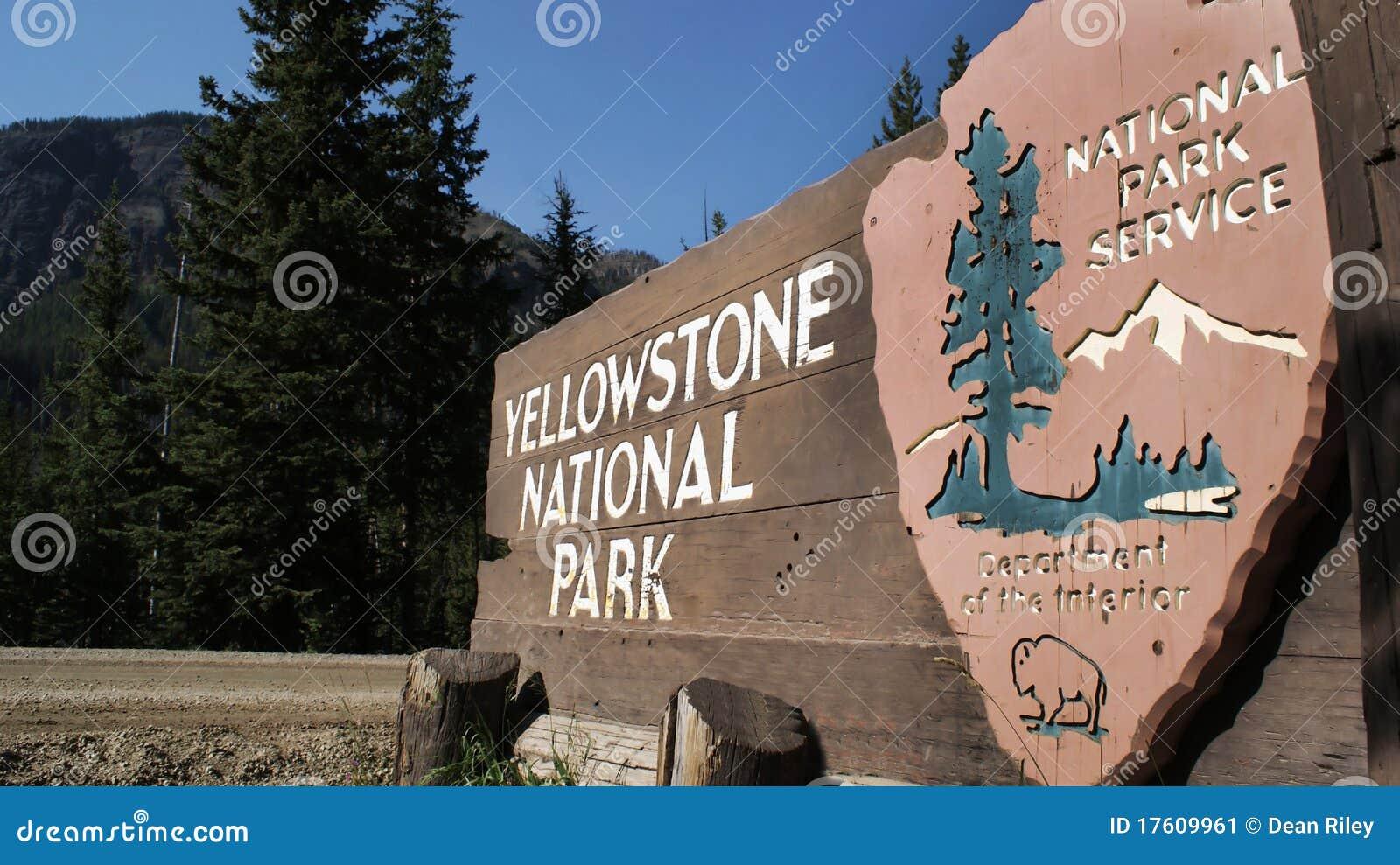 Sinal do parque de Yellowstone