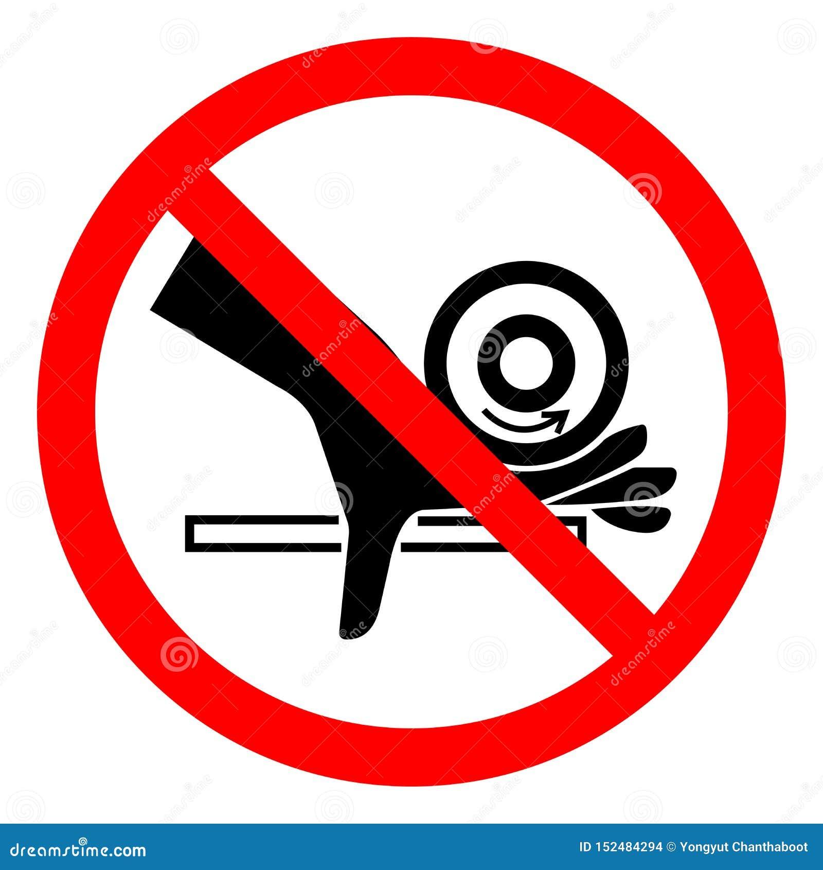 Sinal do símbolo do ponto de pitada do rolo do esmagamento da mão do perigo de ferimento, ilustração do vetor, isolado na etiquet