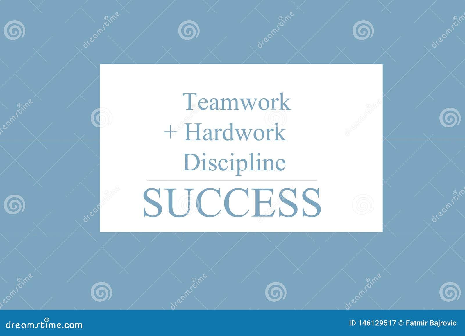 Sinal do texto que mostra ?trabalhos de equipe + Hardwork + disciplina = SUCESSO