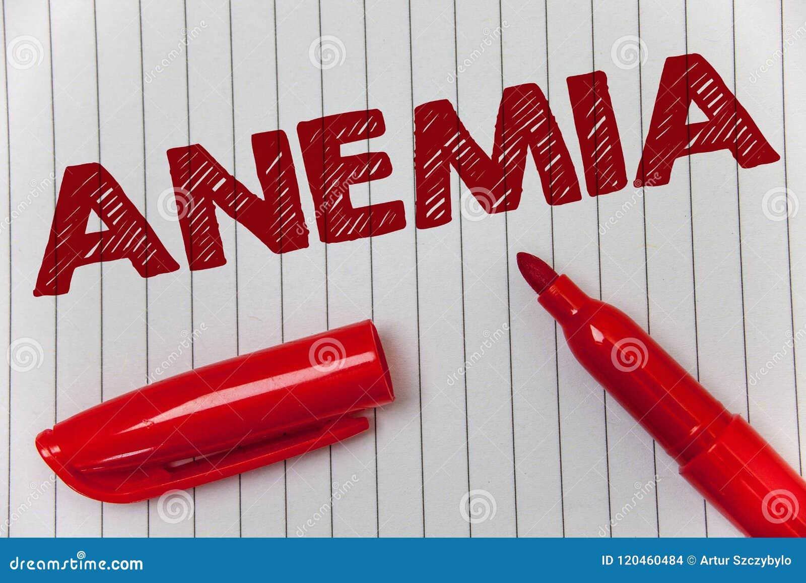 Sinal do texto que mostra a anemia Nota doente da mensagem das ideias da deficiência de ferro da doença severa conceptual da perd