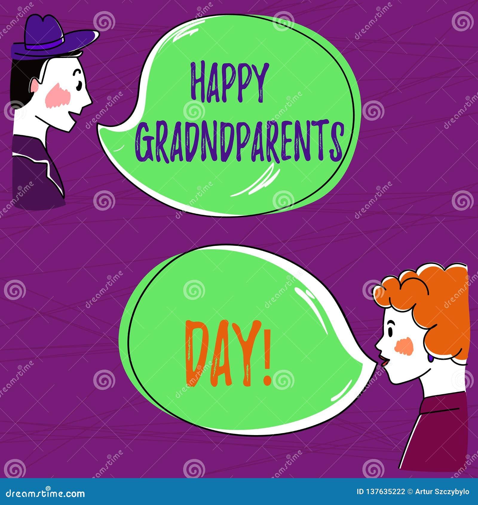 Sinal do texto que mostra a avós felizes o dia O feriado nacional da foto conceptual para comemorar e honrar avós entrega