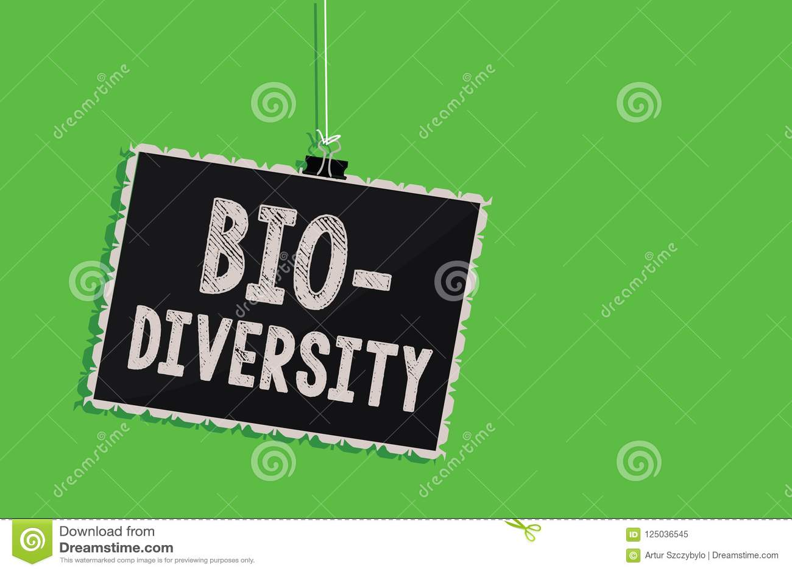 Sinal do texto que mostra a bio diversidade Variedade conceptual da foto de confusão do quadro-negro de Marine Fauna Ecosystem Ha