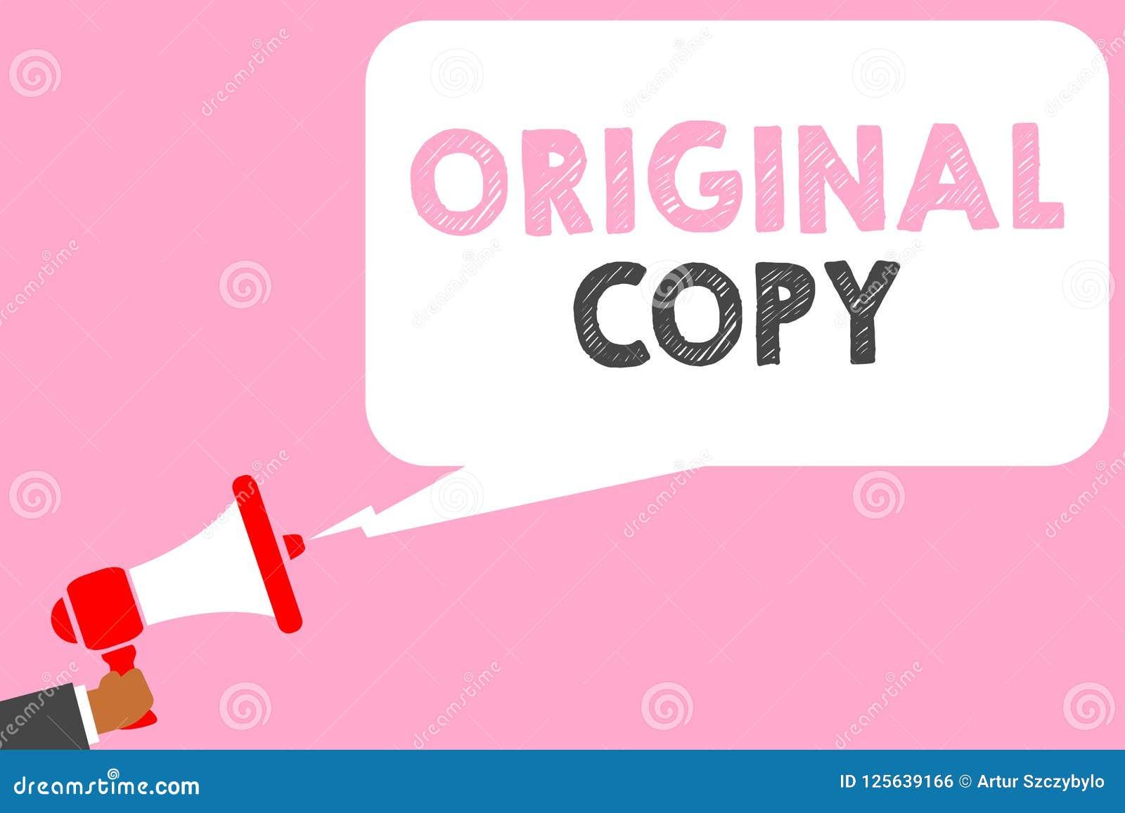 Sinal do texto que mostra a cópia original Homem patenteado marcado Unprinted da lista principal do roteiro principal conceptual