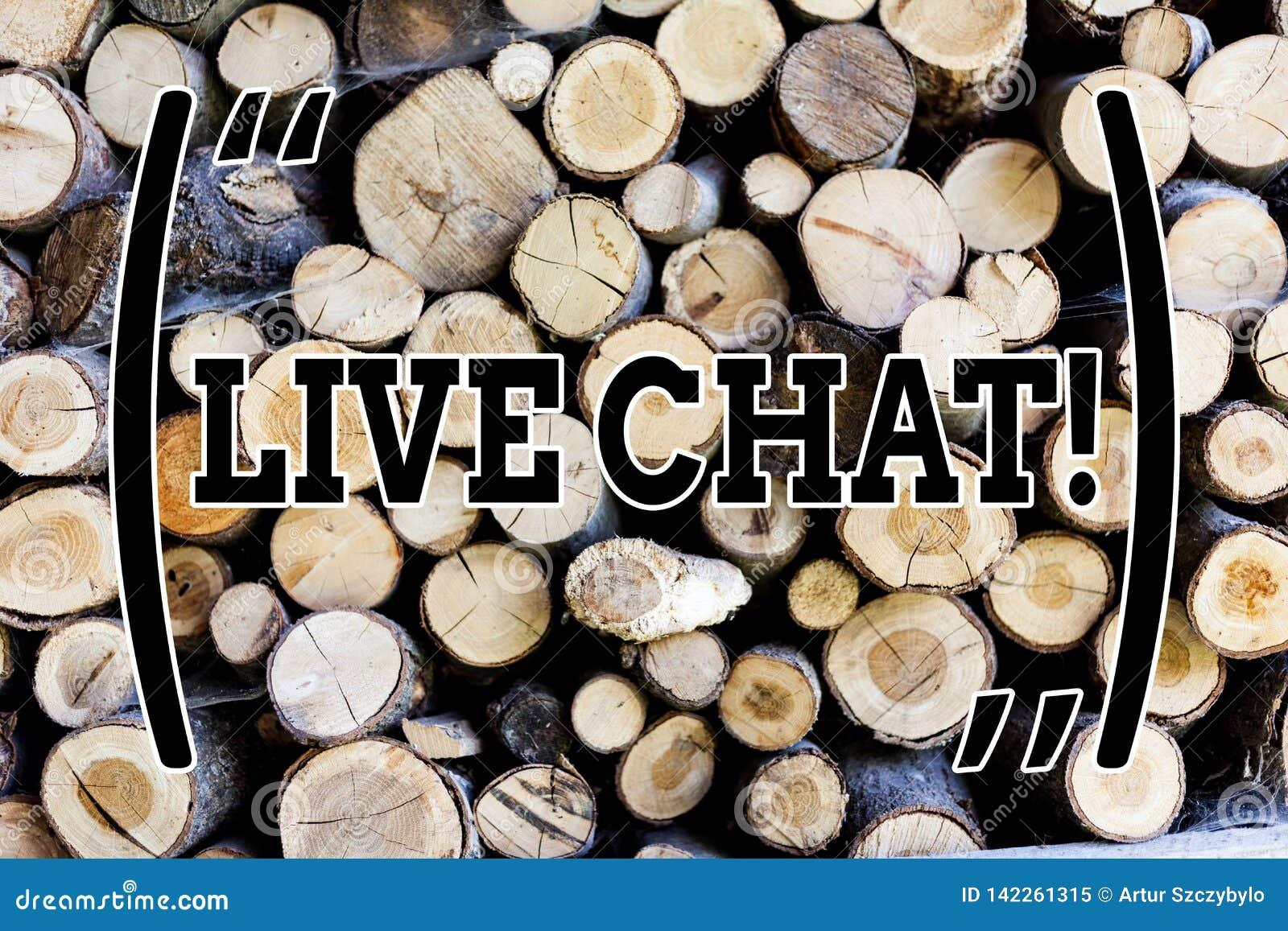 Sinal do texto que mostra Live Chat Conversação conceptual dos meios do tempo real da foto em linha para comunicar o vintage de m