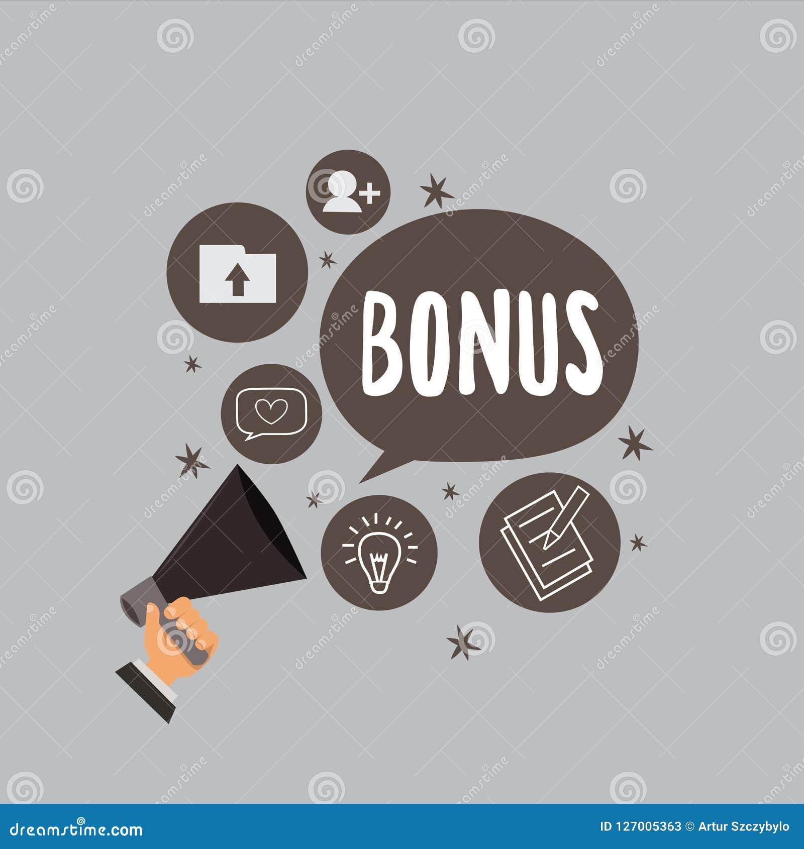 Sinal do texto que mostra o bônus A recompensa conceptual da foto para o dividendo extra e o dinheiro de bom desempenho adicionou