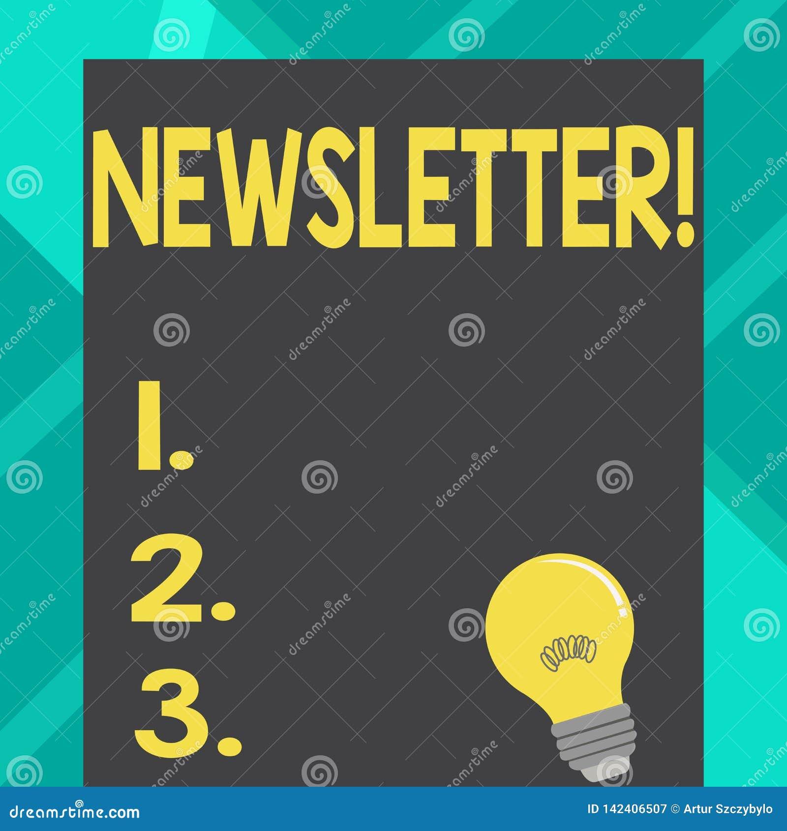Sinal do texto que mostra o boletim de notícias Boletim conceptual da foto enviado periodicamente ao boletim noticioso subscrito