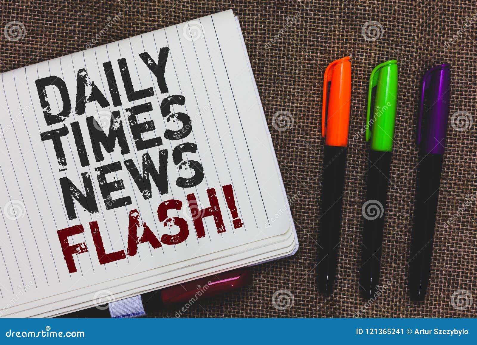 Sinal do texto que mostra o flash noticioso de Daily Times A resposta rápida da foto conceptual às ações aconteceu na maneira que