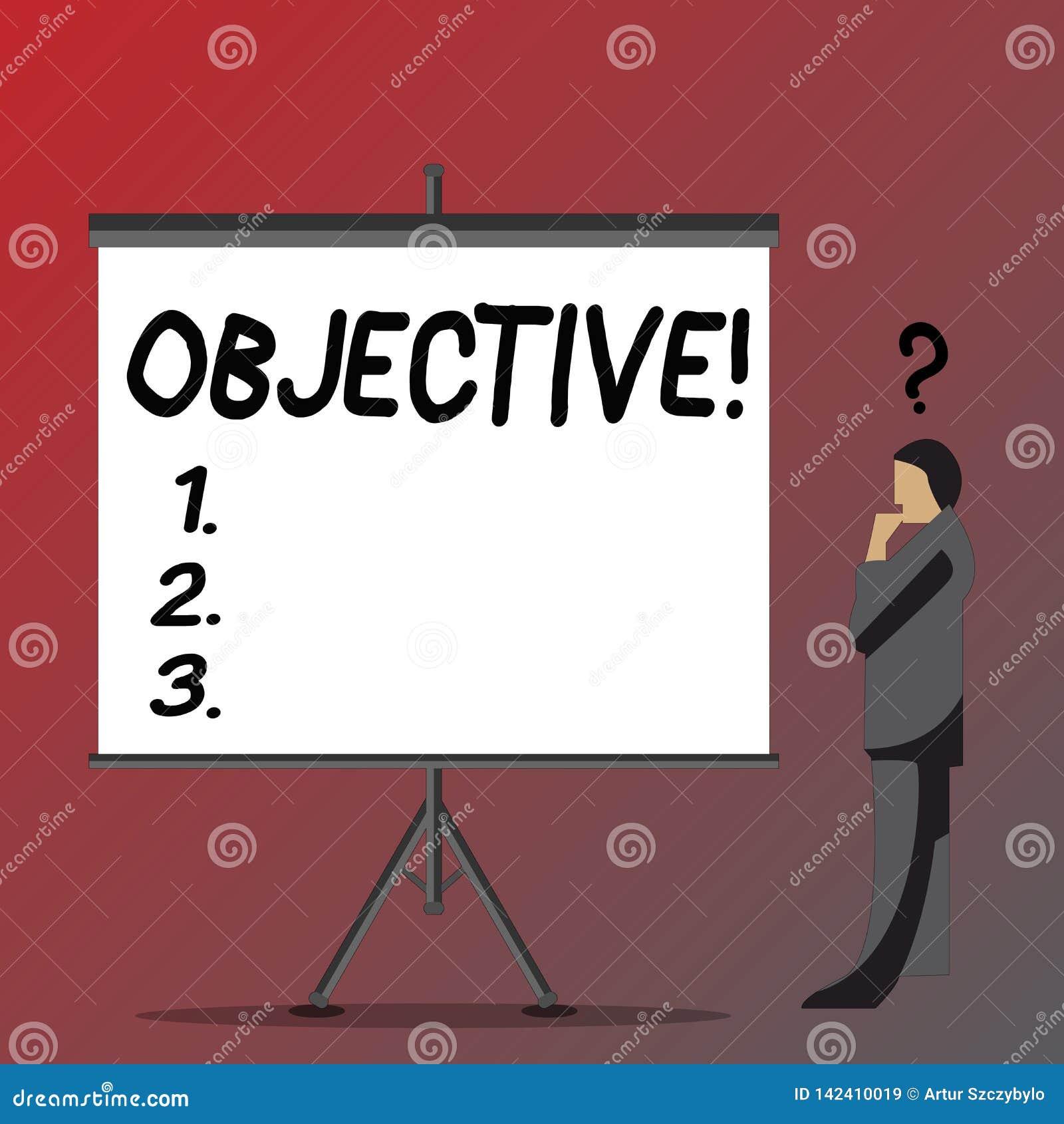 Sinal do texto que mostra o objetivo Objetivo conceptual da foto de planeamento ser homem de negócios desejado conseguido da miss
