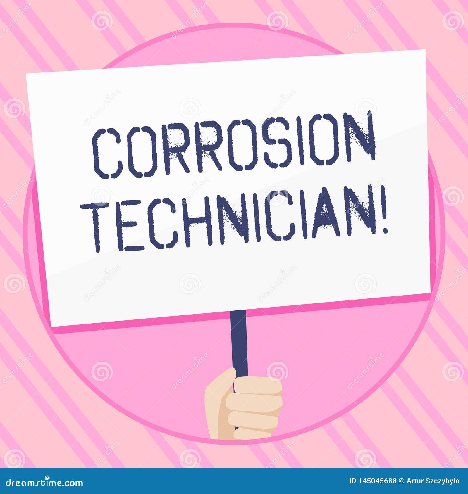 Sinal do texto que mostra o técnico da corrosão Os sistemas de controlo da corrosão conceptual da instalação e da manutenç