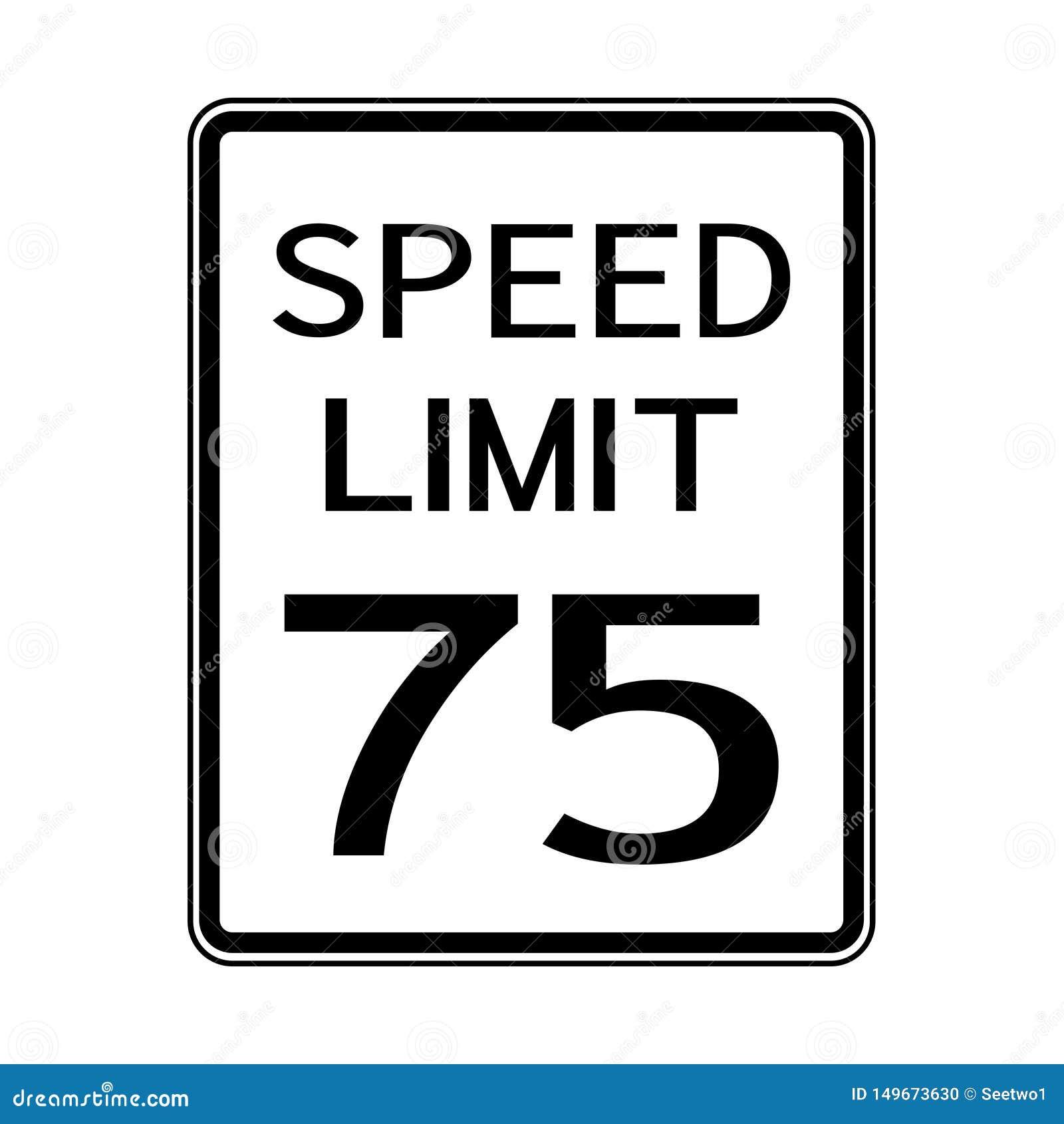 Sinal do transporte do tráfego rodoviário dos EUA: Limite de velocidade 75 no fundo branco, ilustração do vetor