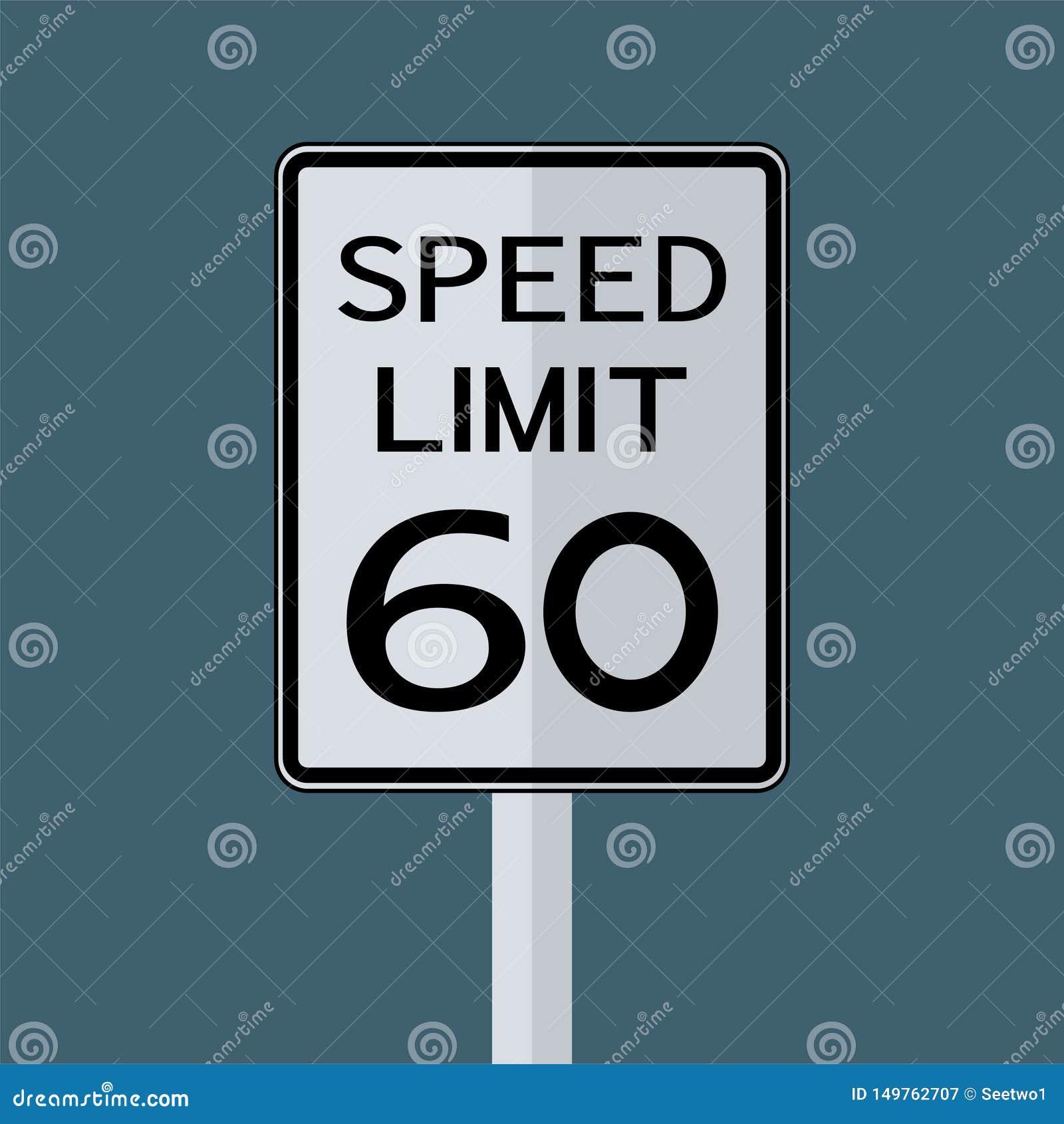 Sinal do transporte do tráfego rodoviário dos EUA: Limite de velocidade 60 no fundo branco, ilustração do vetor