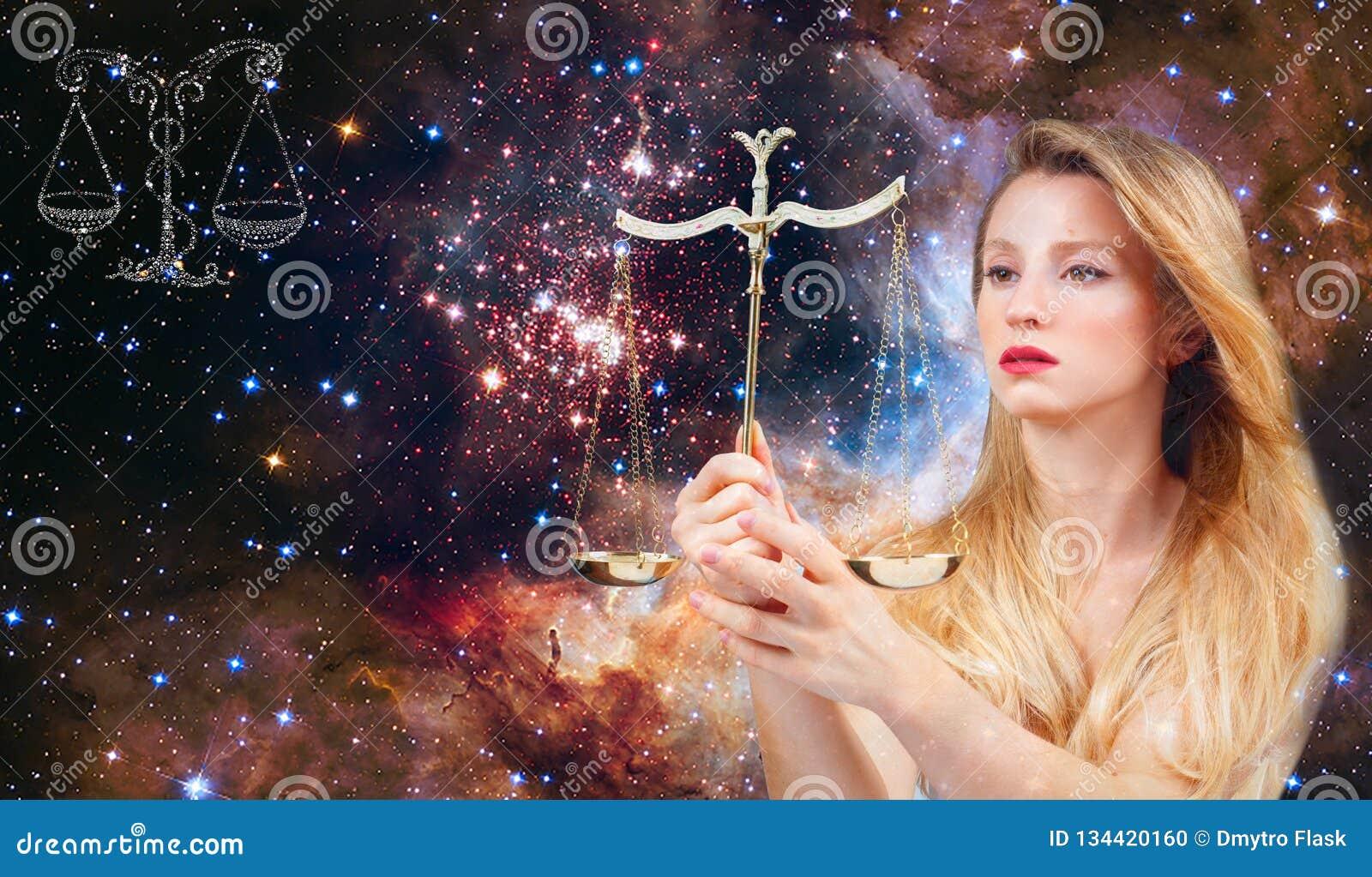 Sinal do zodíaco da Libra Astrologia e horóscopo, Libra bonita da mulher no fundo da galáxia
