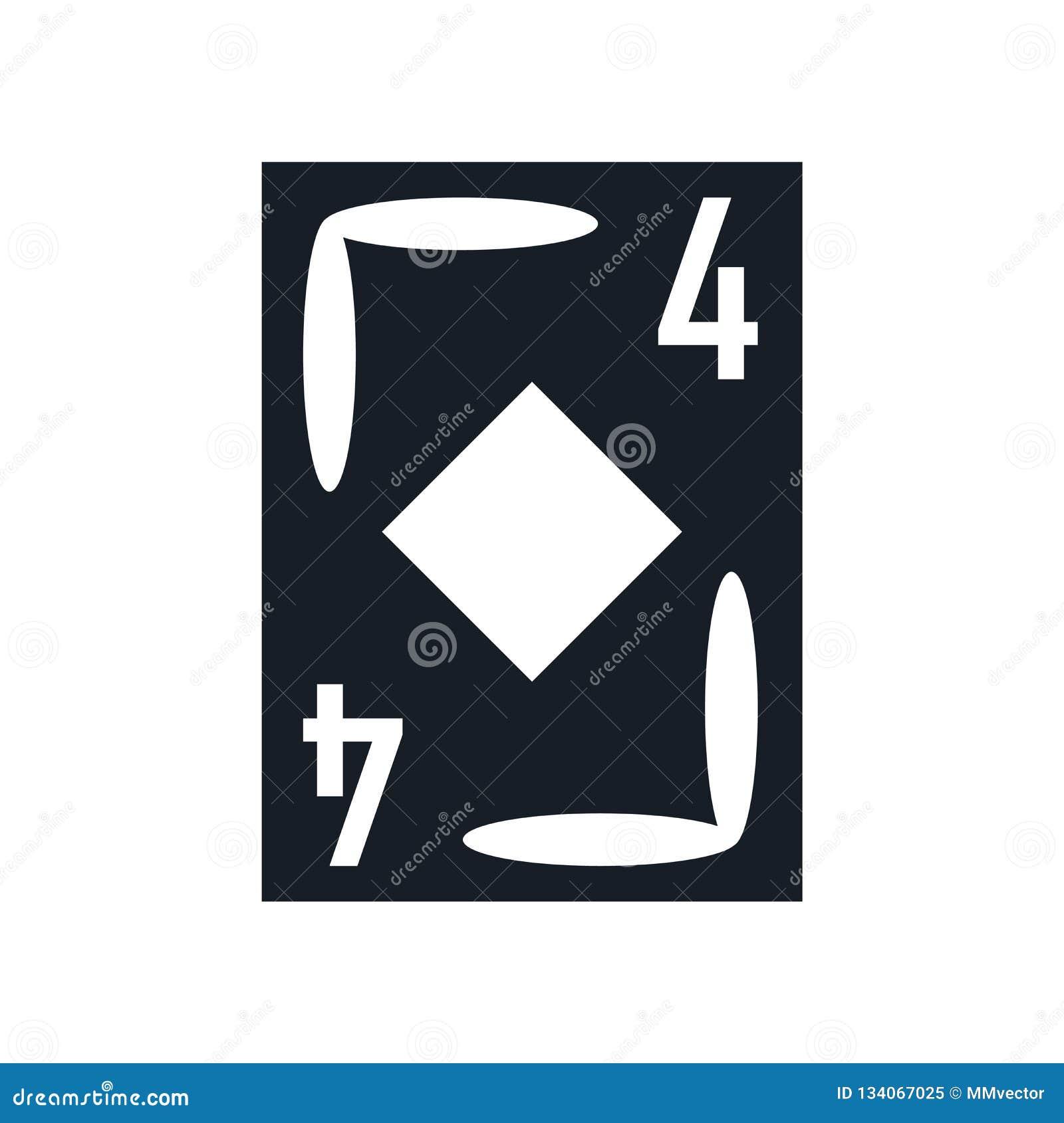 Sinal e símbolo do vetor do ícone do ás do diamante isolados no fundo branco, conceito do logotipo do ás do diamante
