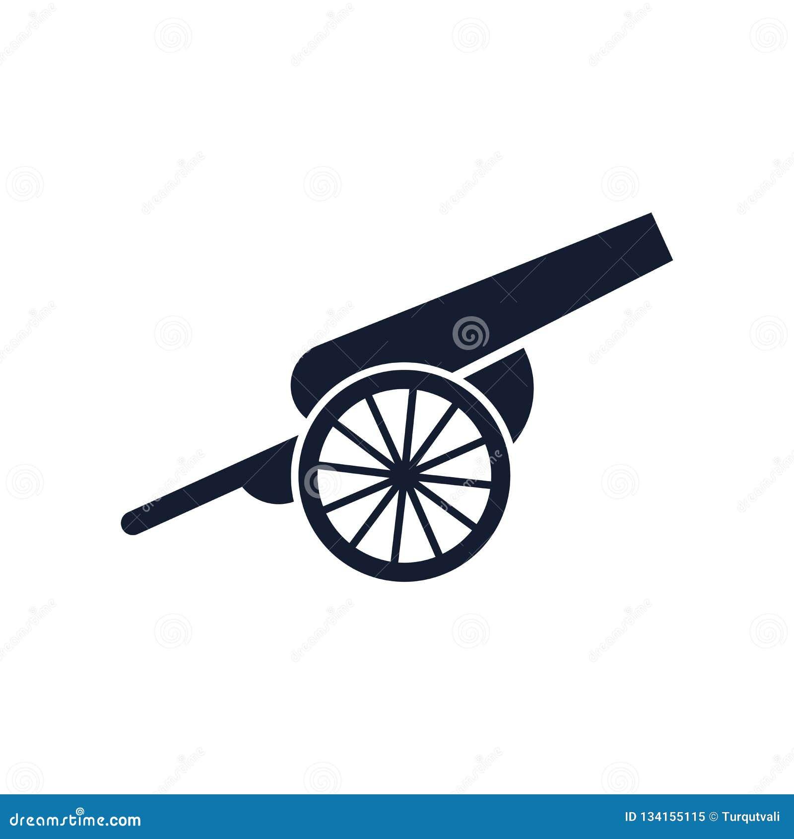 Sinal e símbolo do vetor do ícone do canhão isolados no fundo branco, conceito do logotipo do canhão