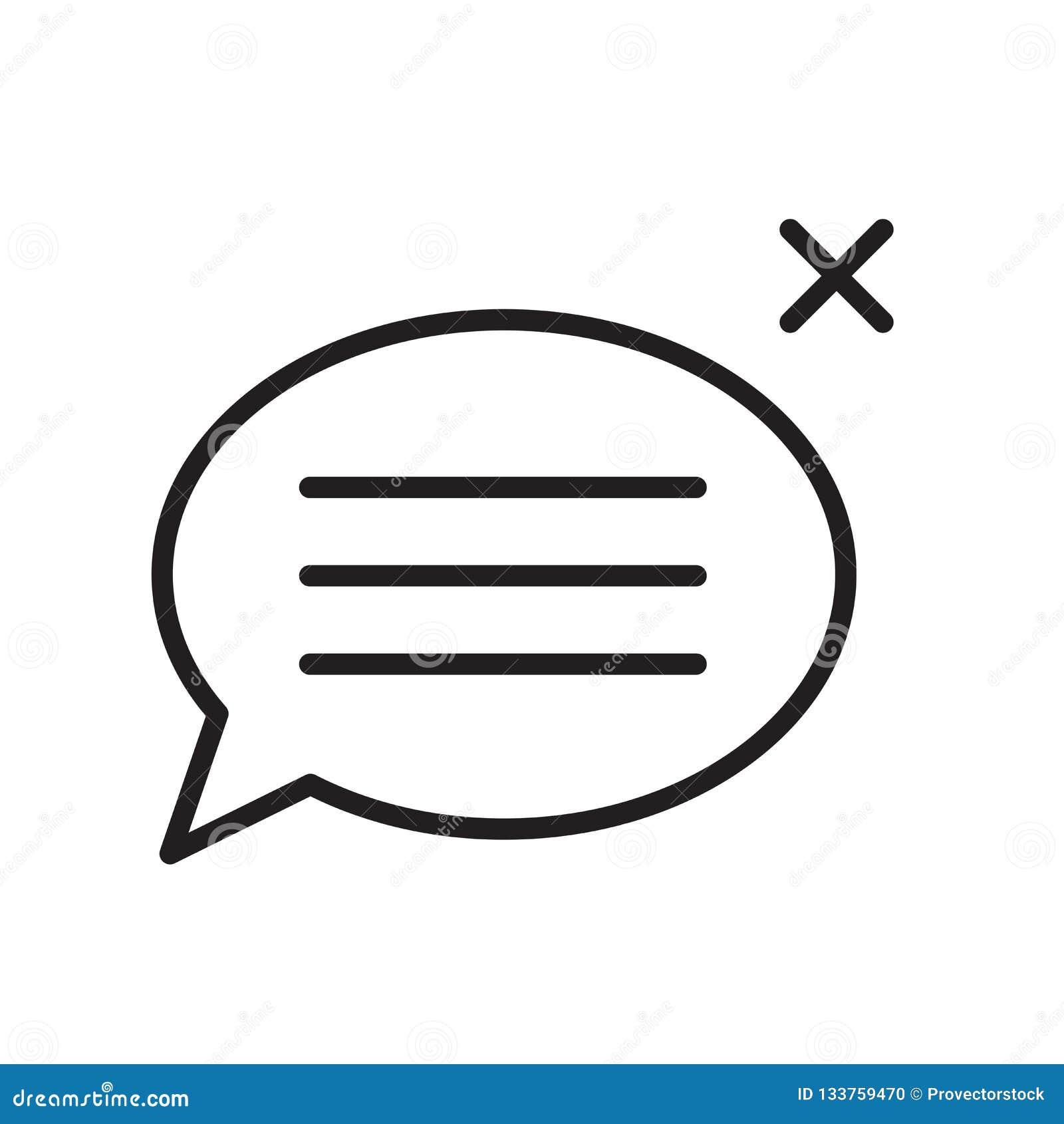 Sinal e símbolo do vetor do ícone da bolha do discurso isolados no fundo branco, conceito do logotipo da bolha do discurso, símbo