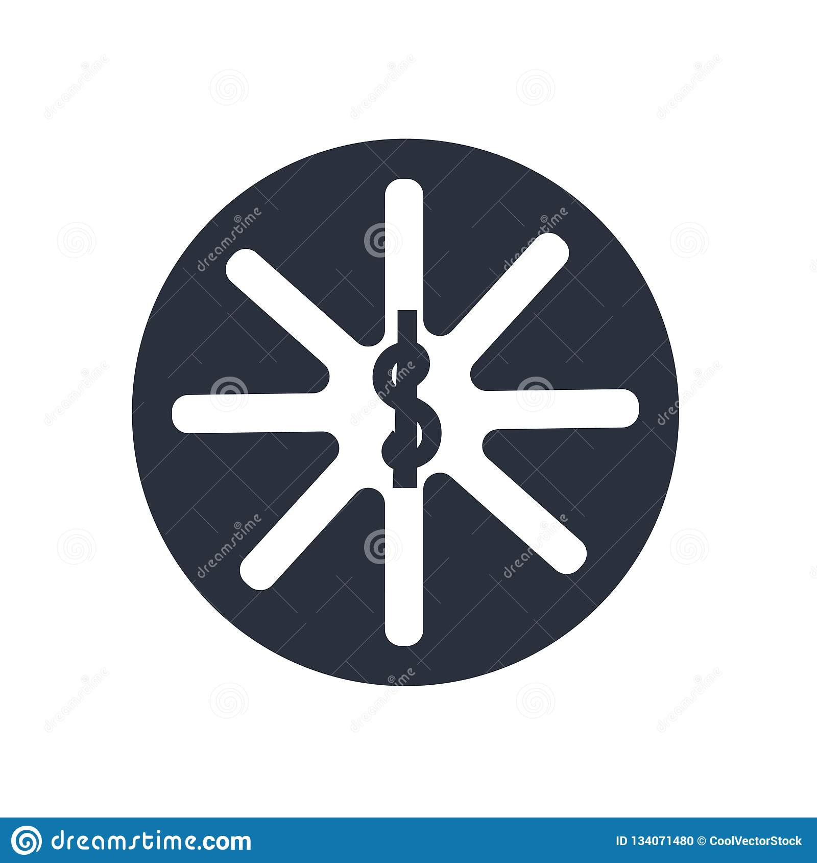Sinal e símbolo do vetor do ícone do símbolo da farmácia isolados no fundo branco, conceito do logotipo do símbolo da farmácia