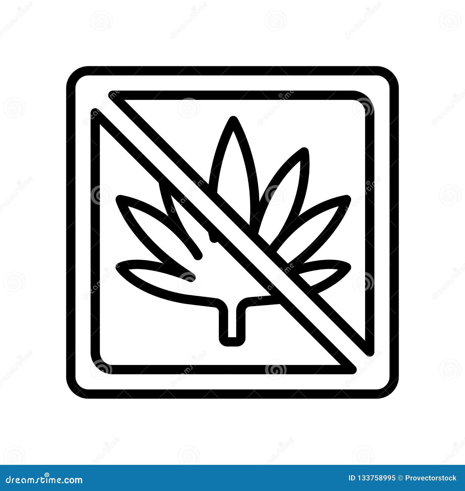 Sinal e símbolo do vetor do ícone da marijuana isolados no backgrou branco