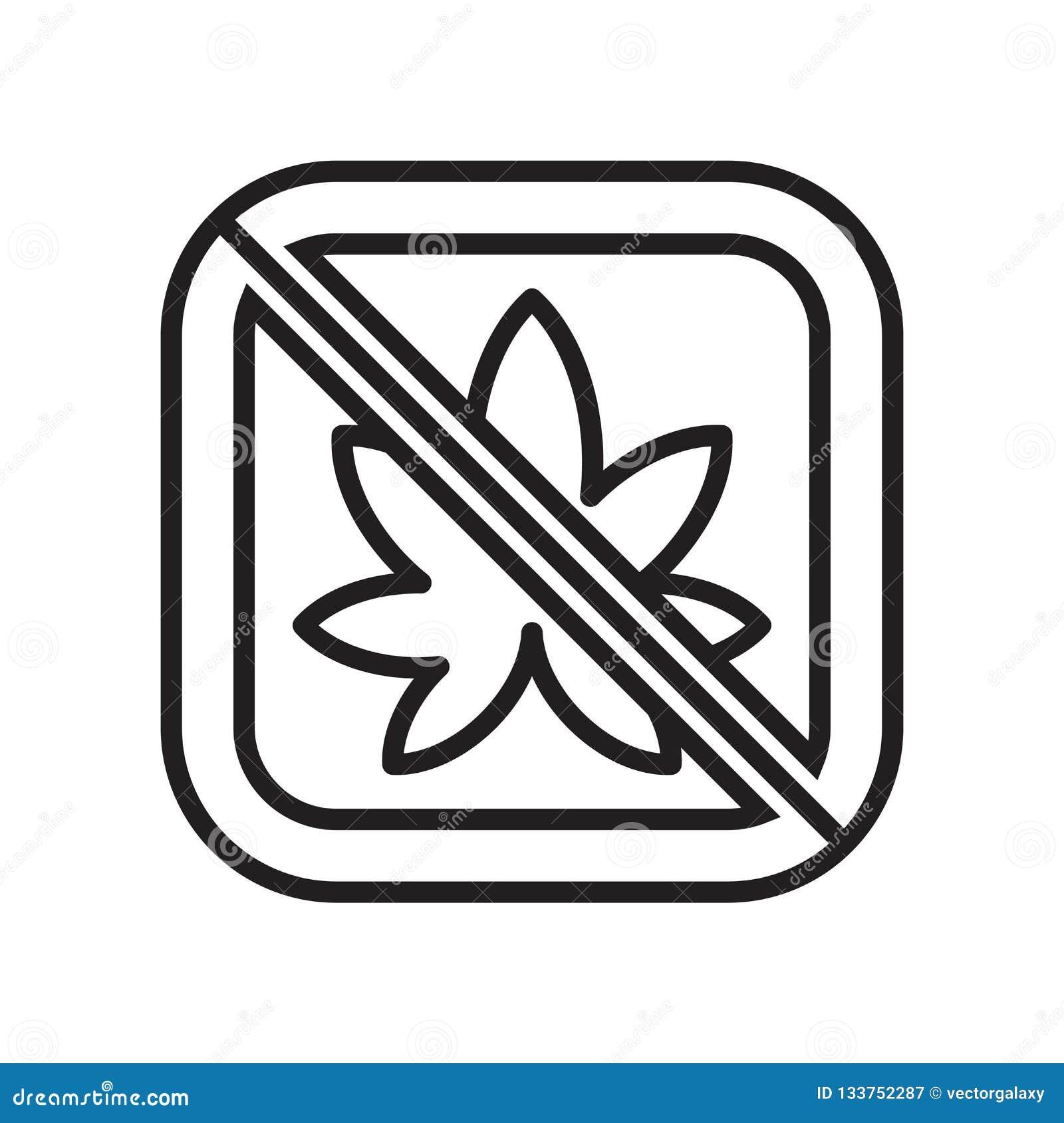 Sinal e símbolo do vetor do ícone da marijuana isolados no fundo branco, conceito do logotipo da marijuana
