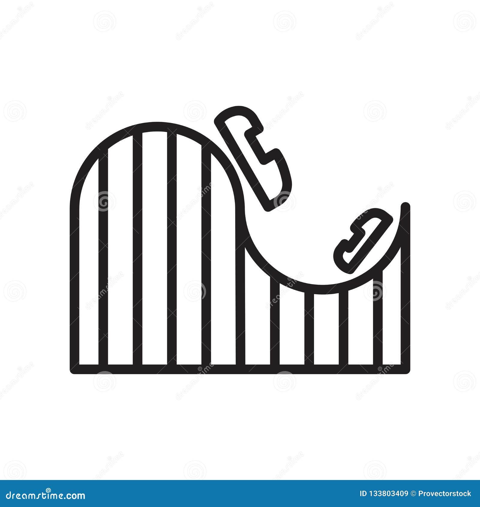 Sinal e símbolo do vetor do ícone da montanha russa isolados no CCB branco
