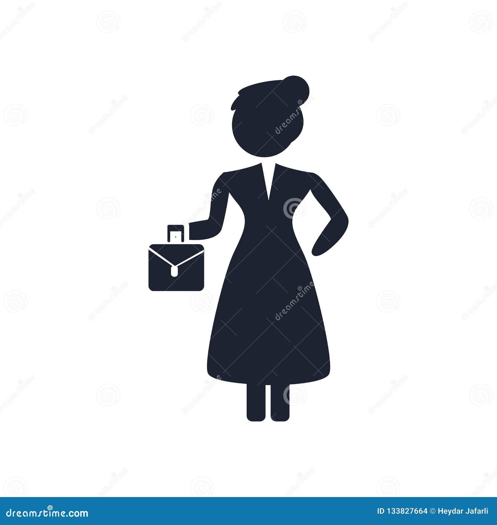 Sinal e símbolo do vetor do ícone da mulher adulta isolados no backgrou branco