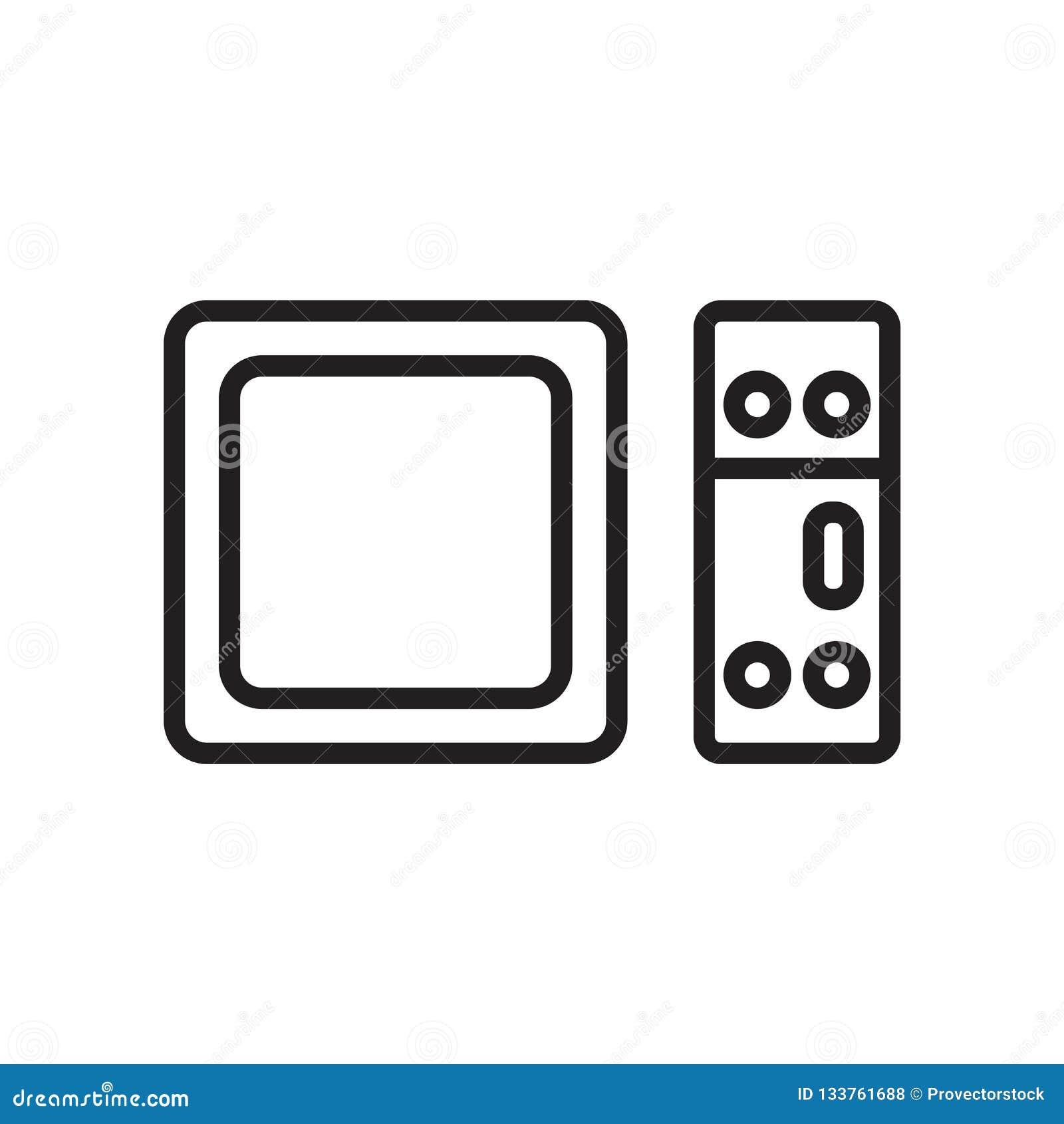 Sinal e símbolo do vetor do ícone da tevê de Apple isolados no backgroun branco