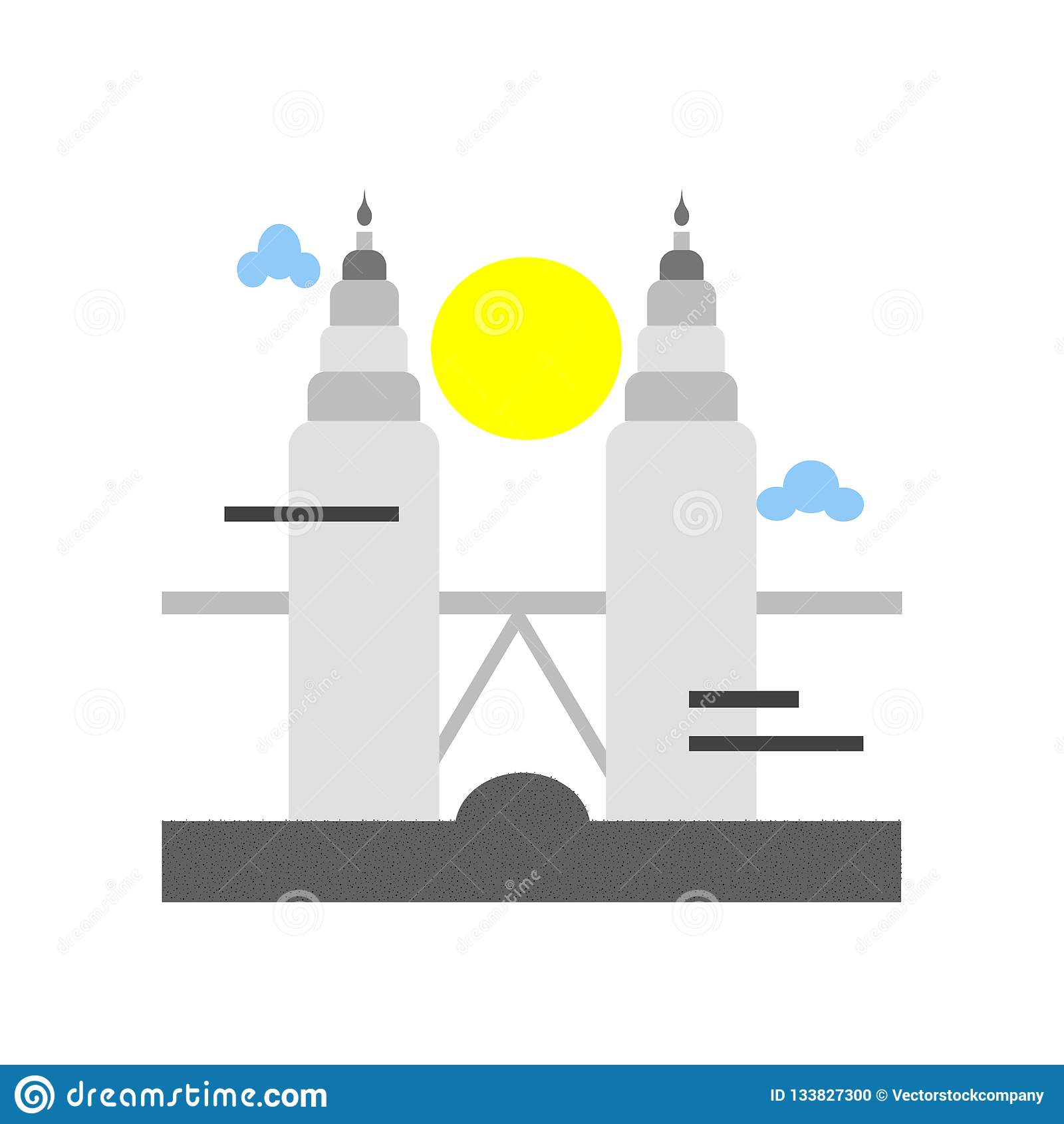 Sinal e símbolo do vetor do ícone das torres de Petronas isolados nos vagabundos brancos