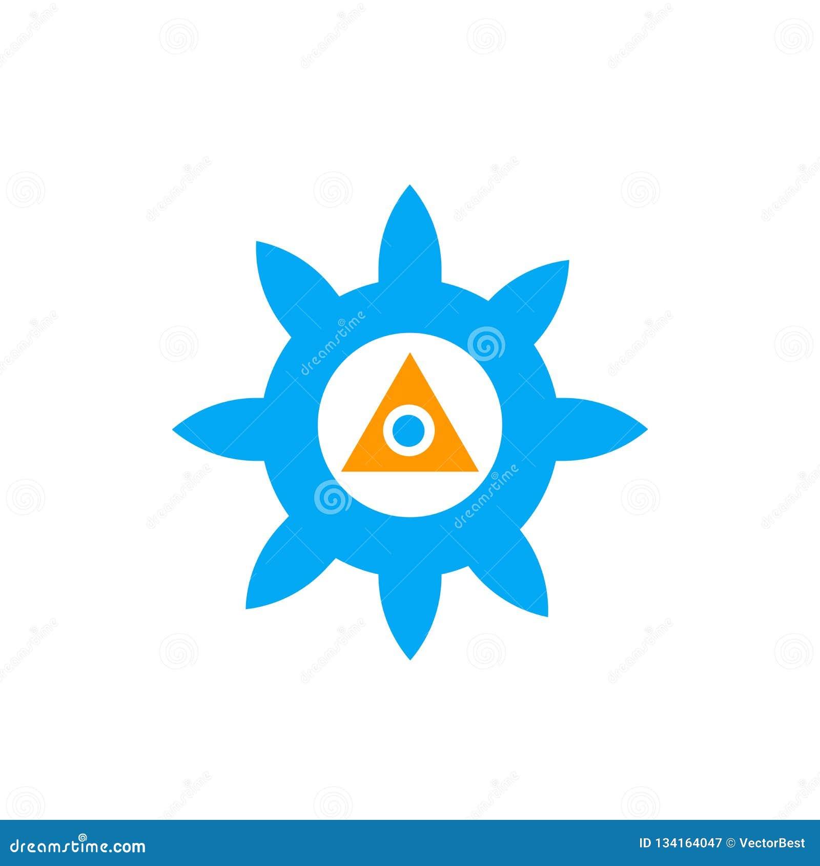 Sinal e símbolo do vetor do ícone de Chakra isolados no fundo branco