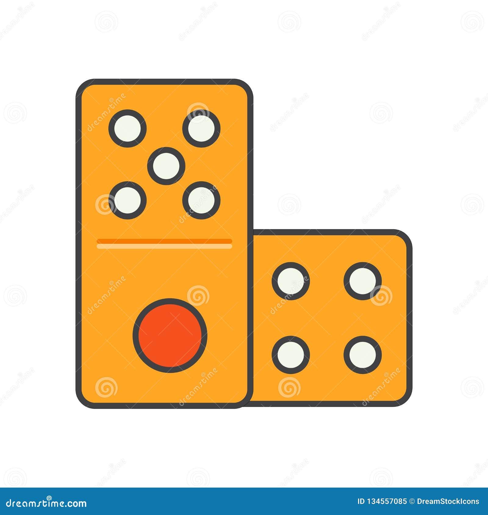 Sinal e símbolo do vetor do ícone do dominó isolados no fundo branco, conceito do logotipo do dominó