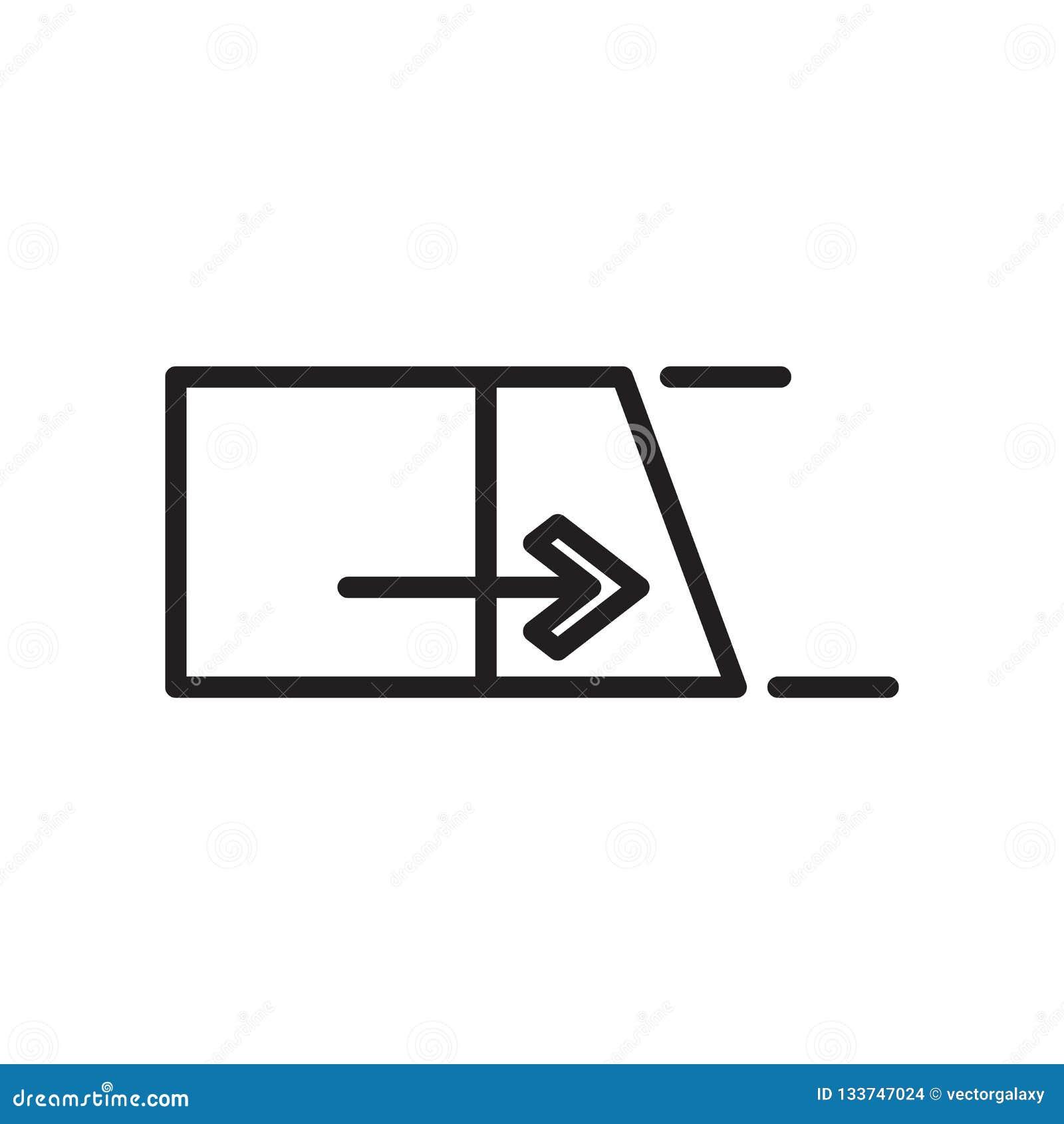 Sinal e símbolo do vetor do ícone do estiramento isolados no fundo branco