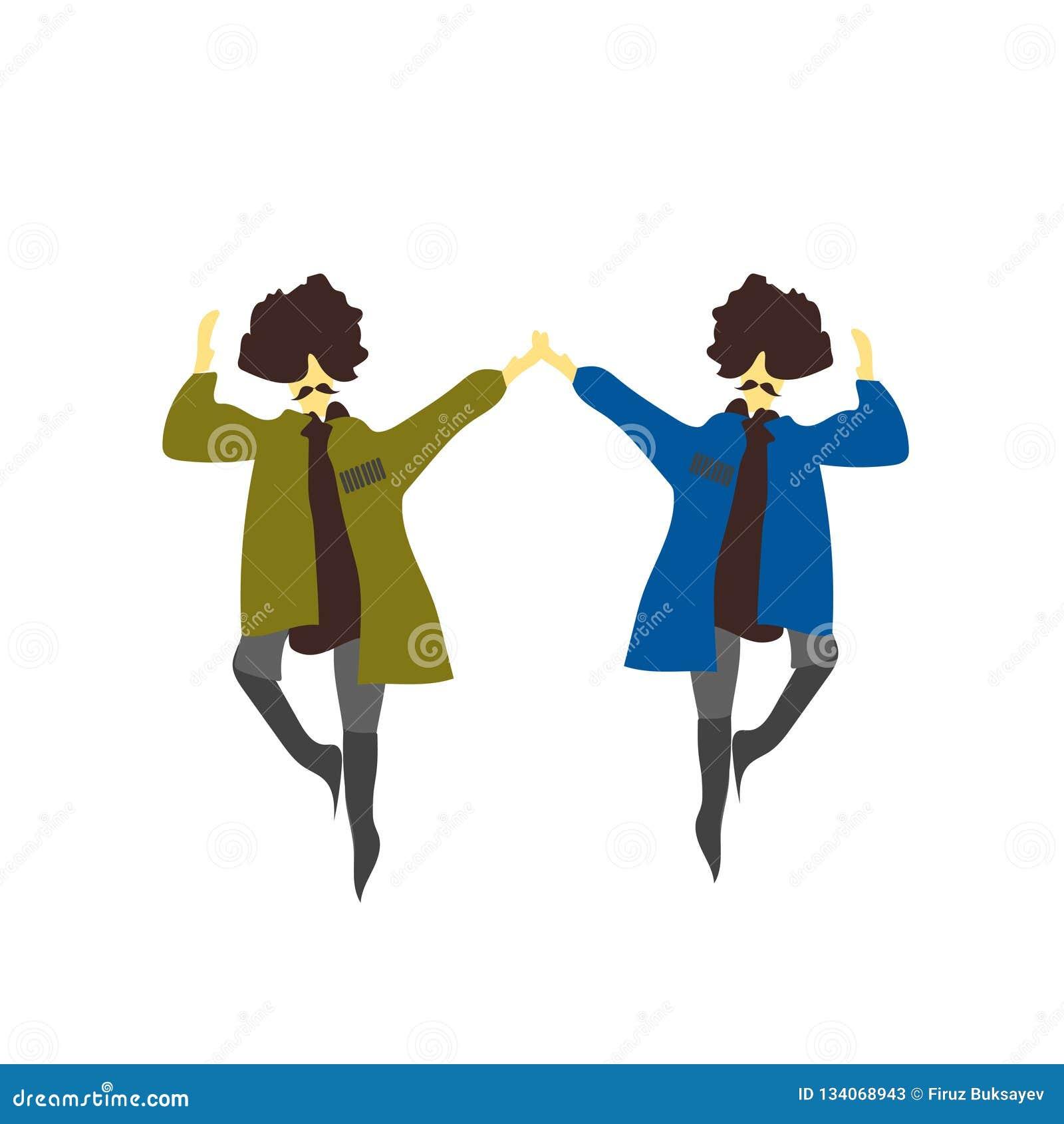 Sinal e símbolo do vetor do vetor da dança do natinal de 2 homens isolados no fundo branco, conceito do logotipo do vetor da danç