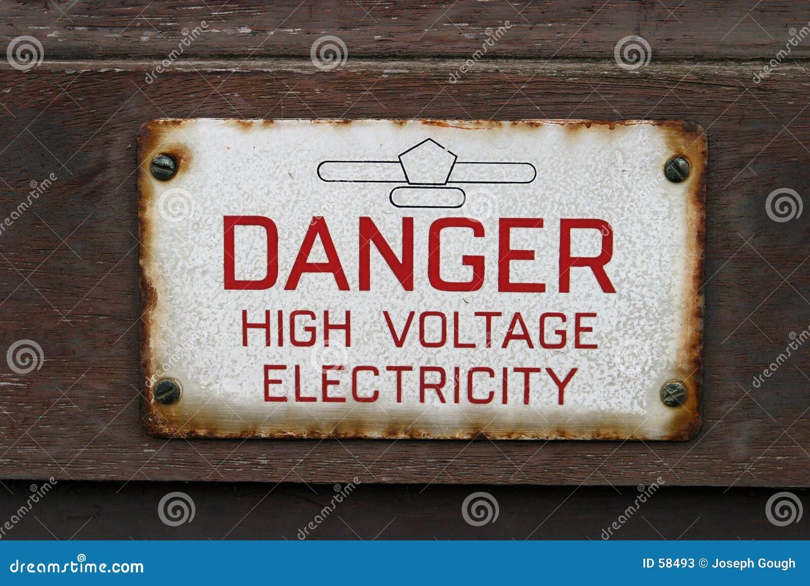Sinal, eletricidade da alta tensão do perigo