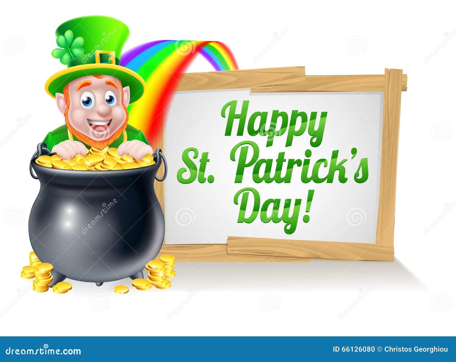 Sinal feliz do duende do dia do St Patricks