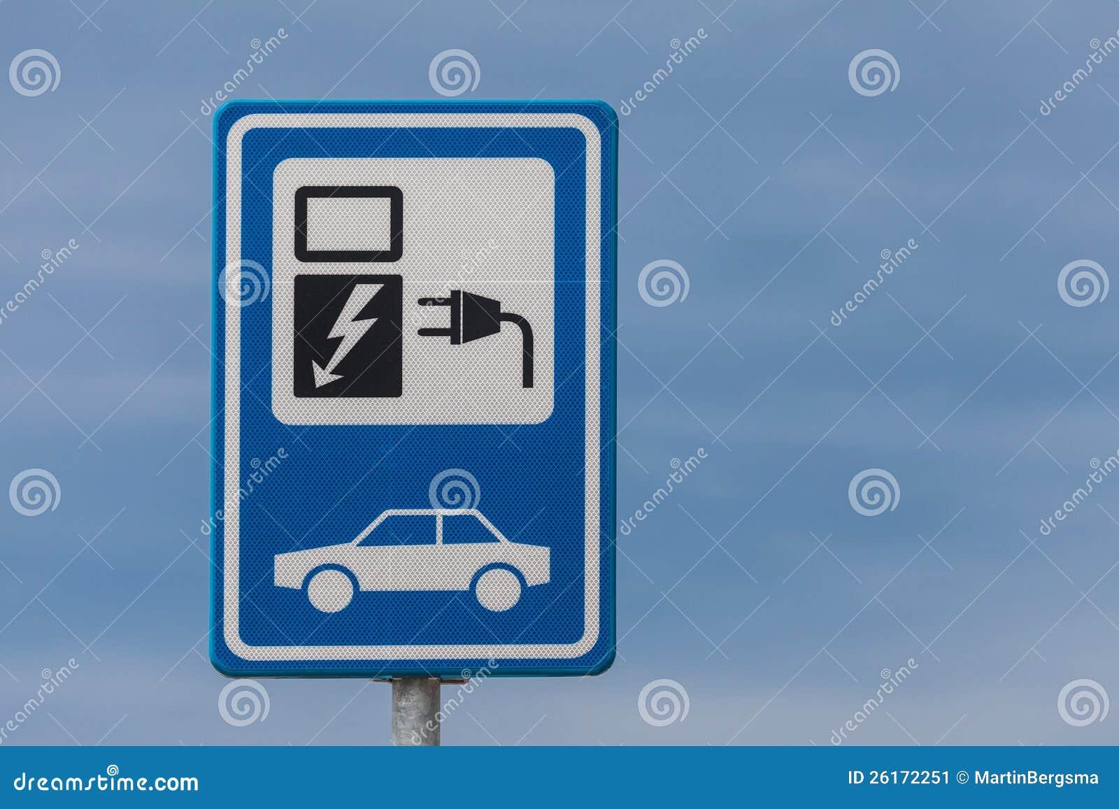 Sinal holandês para cobrar um veículo eléctrico