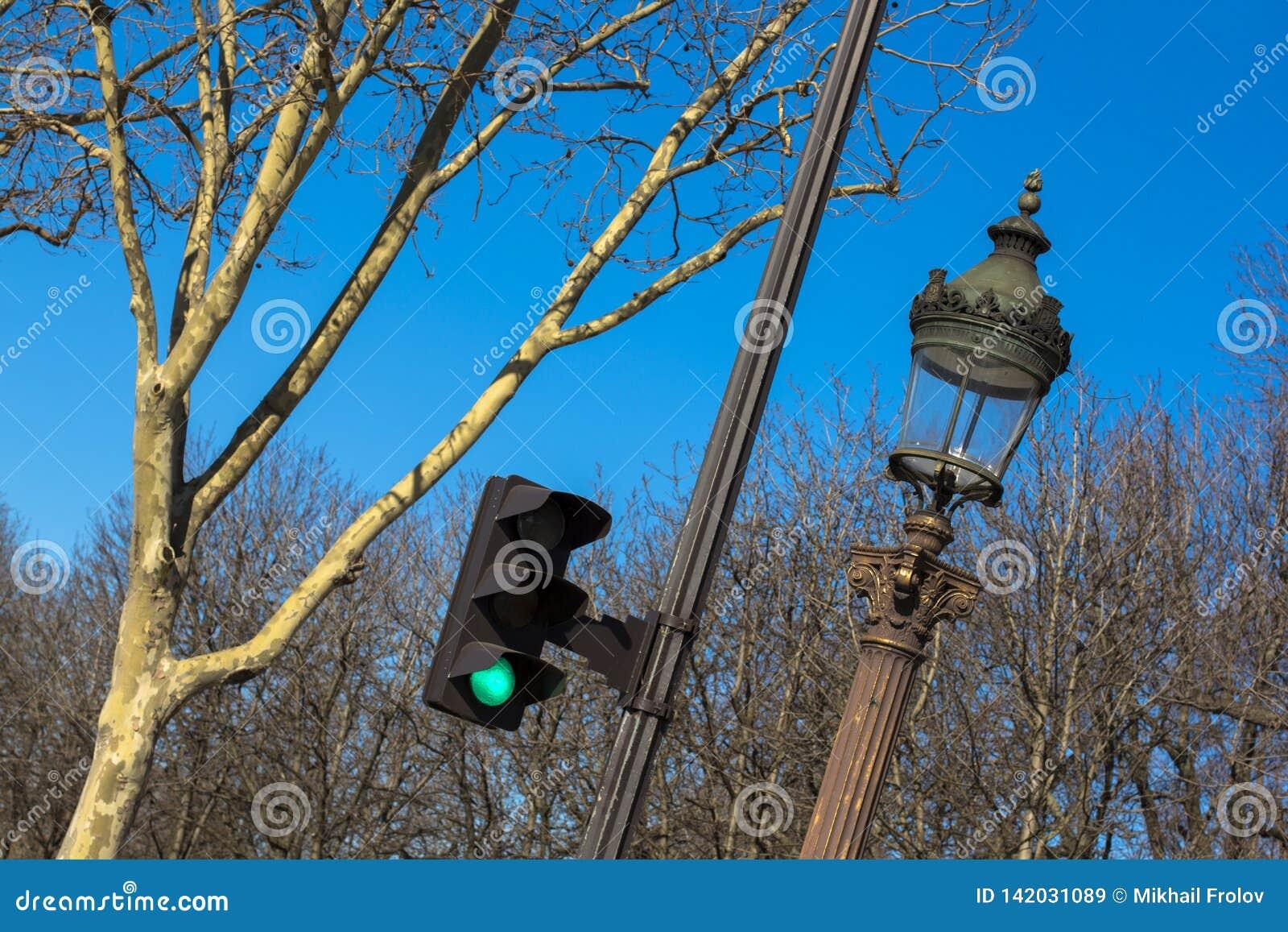 Sinal, lanterna, árvore contra o céu azul na mola em Paris