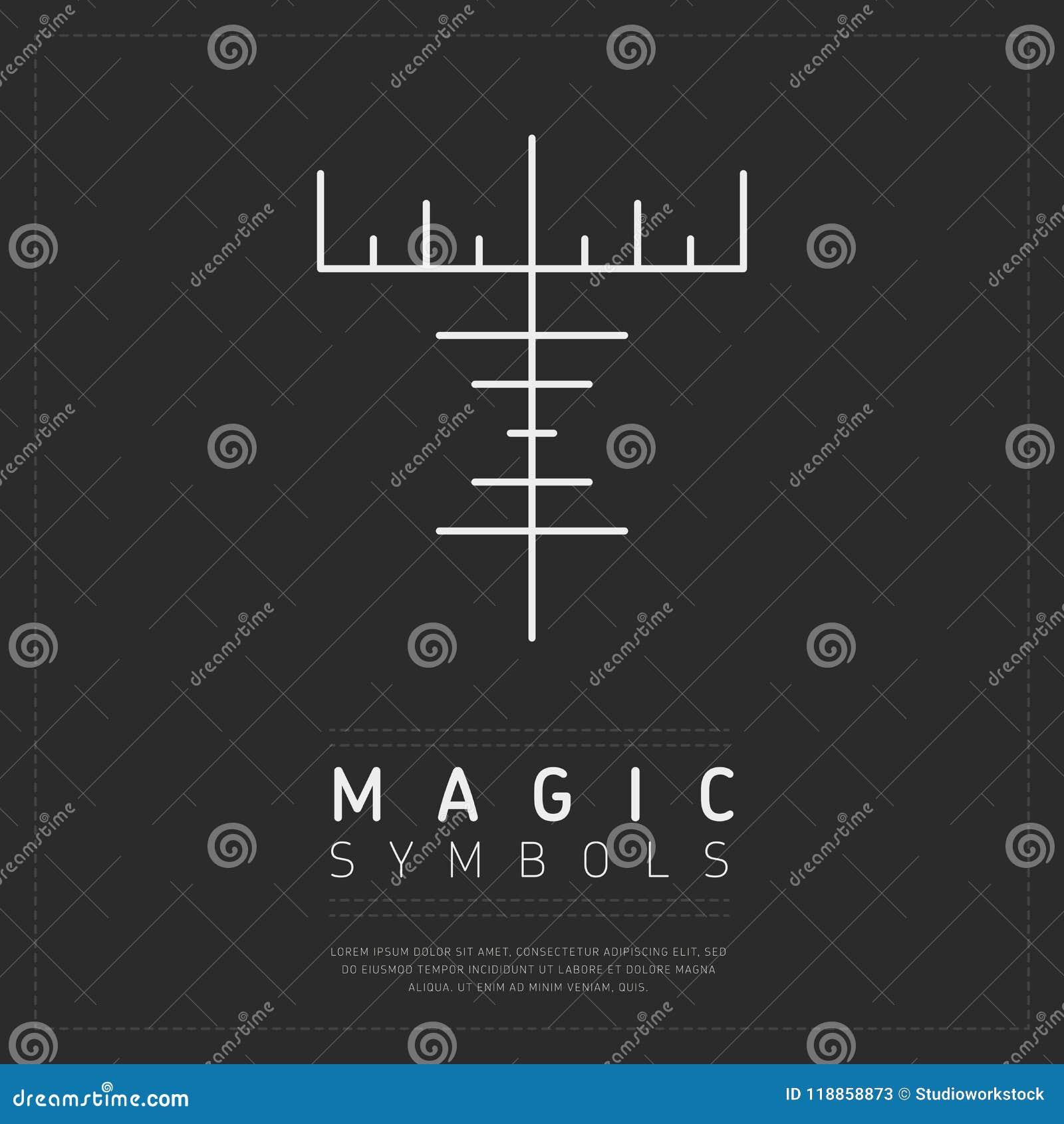 Sinal mágico mitológico no cinza