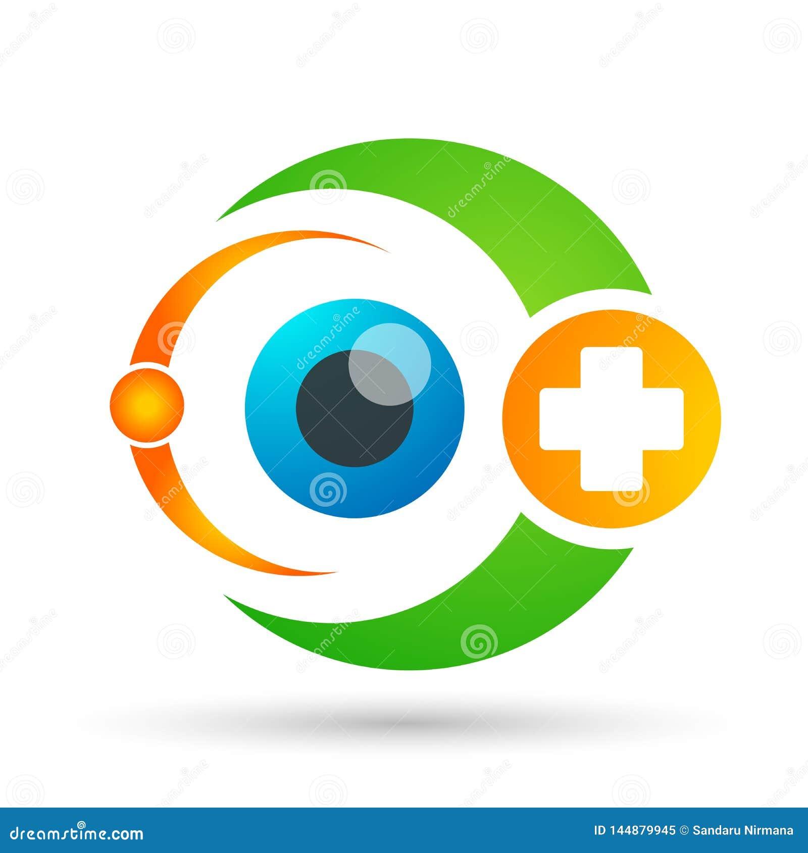 Sinal médico do elemento do ícone do logotipo do conceito da saúde da família do globo do cuidado do olho no fundo branco