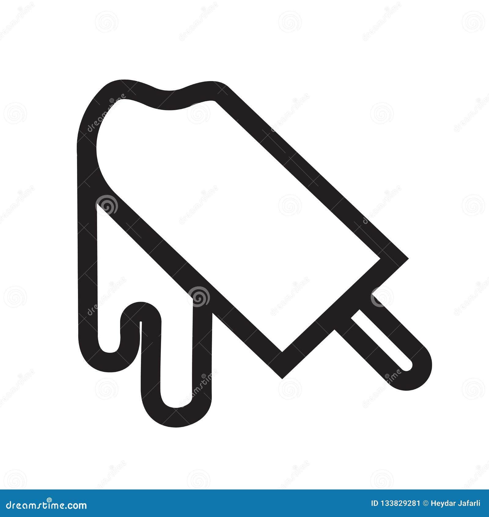 Sinal mordido e símbolo do vetor do ícone do gelado isolados em b branco